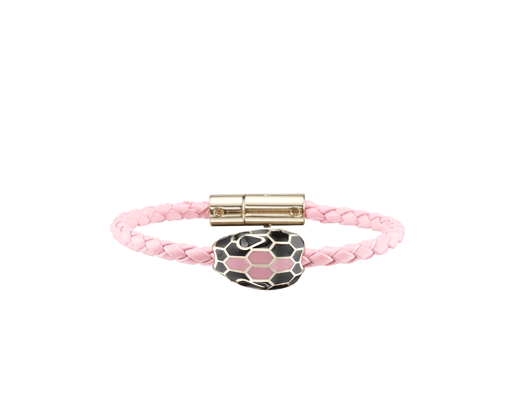 Serpenti Forever braid bracelet in flamingo quartz woven calf leather with an iconic snakehead décor in black and flamingo quartz enamel. SerpBraid-WCL-FQ image 1