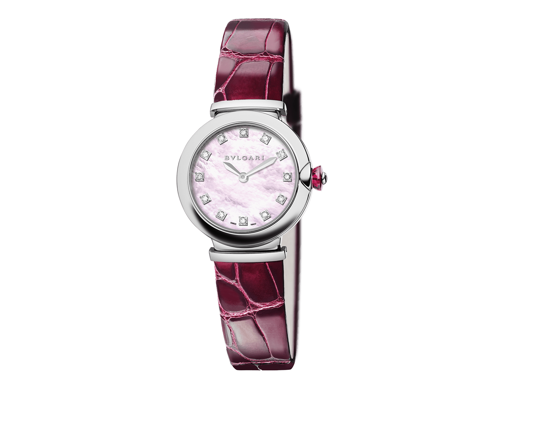 LVCEA watch with stainless steel case, pink mother-of-pearl dial, diamond indexes and burgundy alligator bracelet. 102608 image 1