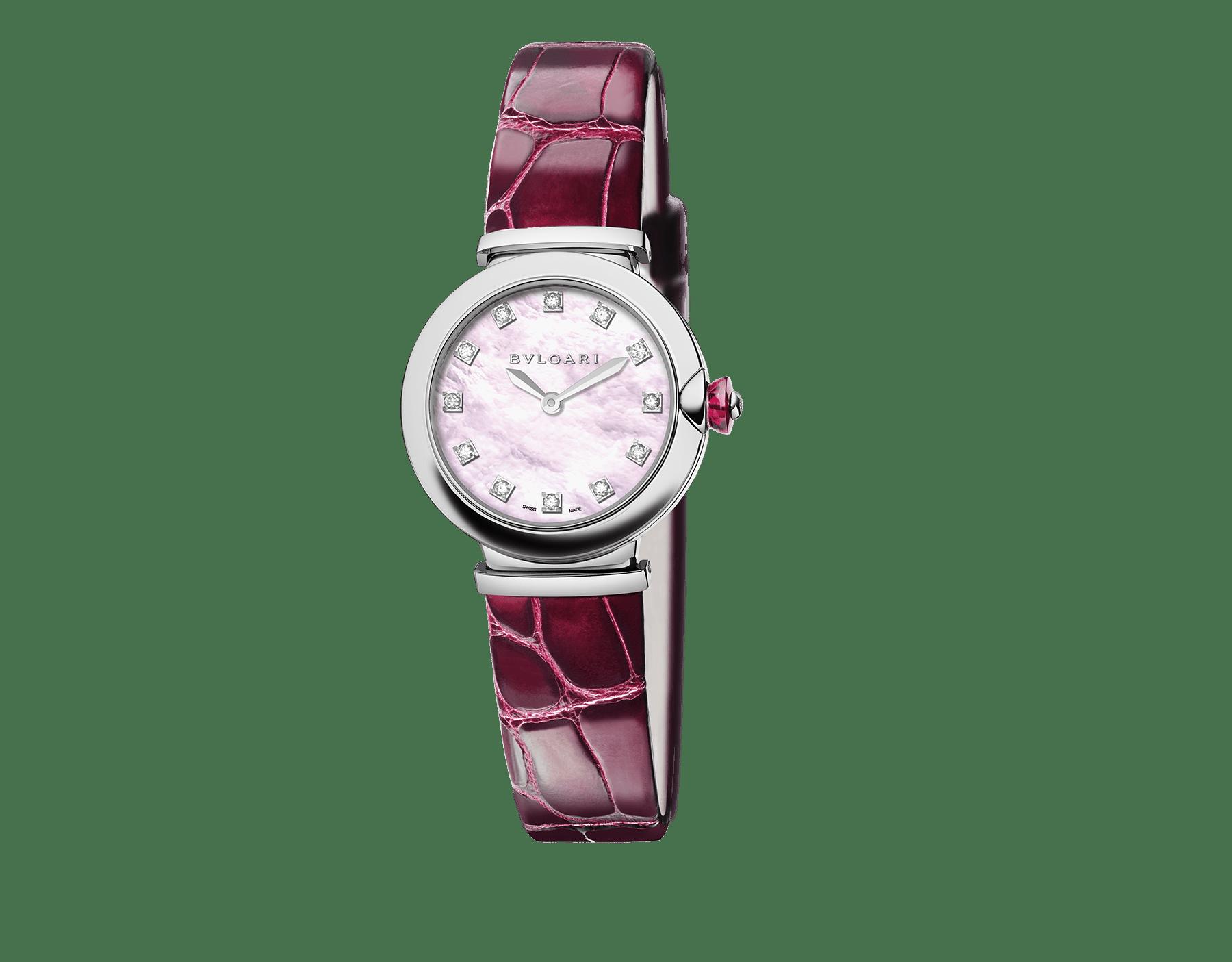 Часы LVCEA, корпус из нержавеющей стали, розовый перламутровый циферблат, бриллиантовые часовые метки, бордовый ремешок из кожи аллигатора. 102608 image 1
