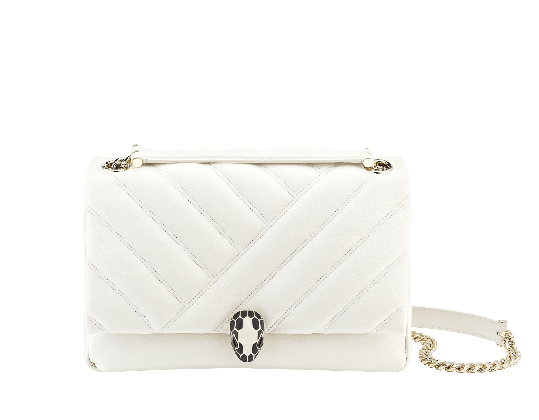 Serpenti Cabochon shoulder bag in soft matelassé white agate nappa leather with graphic motif and white agate calf leather. Snakehead closure in rose gold plated brass decorated with matte black and white enamel, and black onyx eyes. 979-NSM image 1