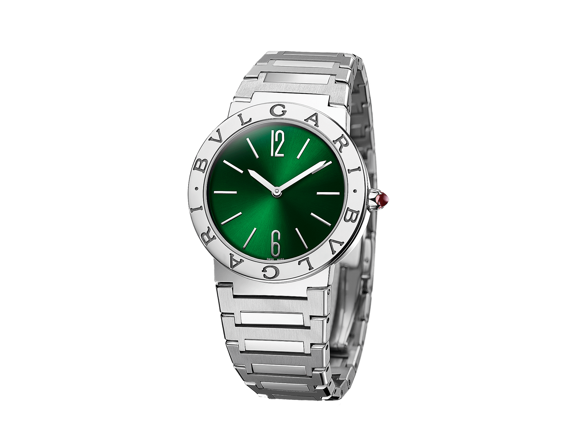 BVLGARI BVLGARI LADY watch with stainless steel case, stainless steel bracelet, stainless steel bezel engraved with double logo and green sun-brushed dial. 103066 image 2