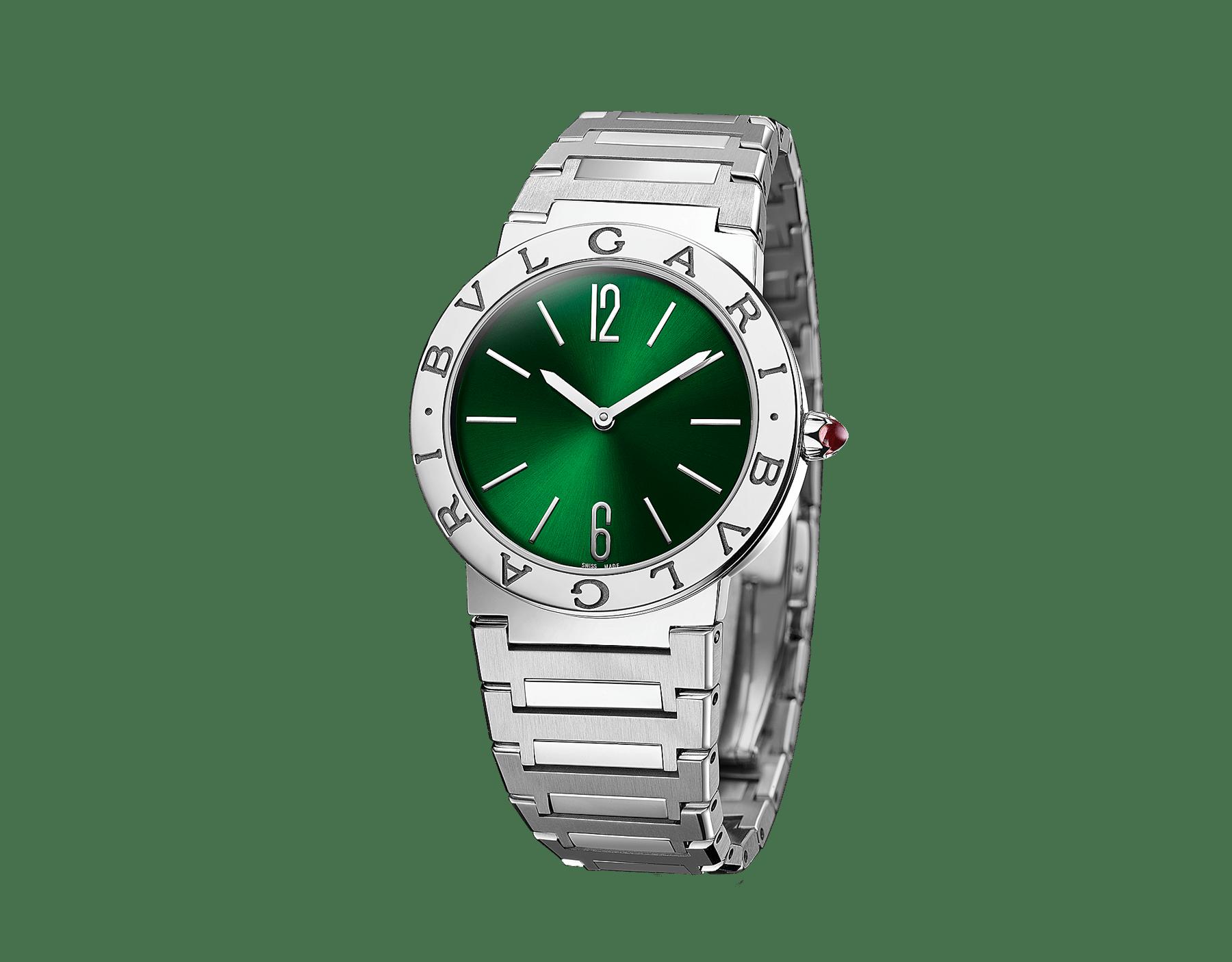 BVLGARI BVLGARI LADY 腕錶,精鋼錶殼和錶帶,精鋼錶圈鐫刻雙品牌標誌,綠色太陽放射紋錶盤。 103066 image 2