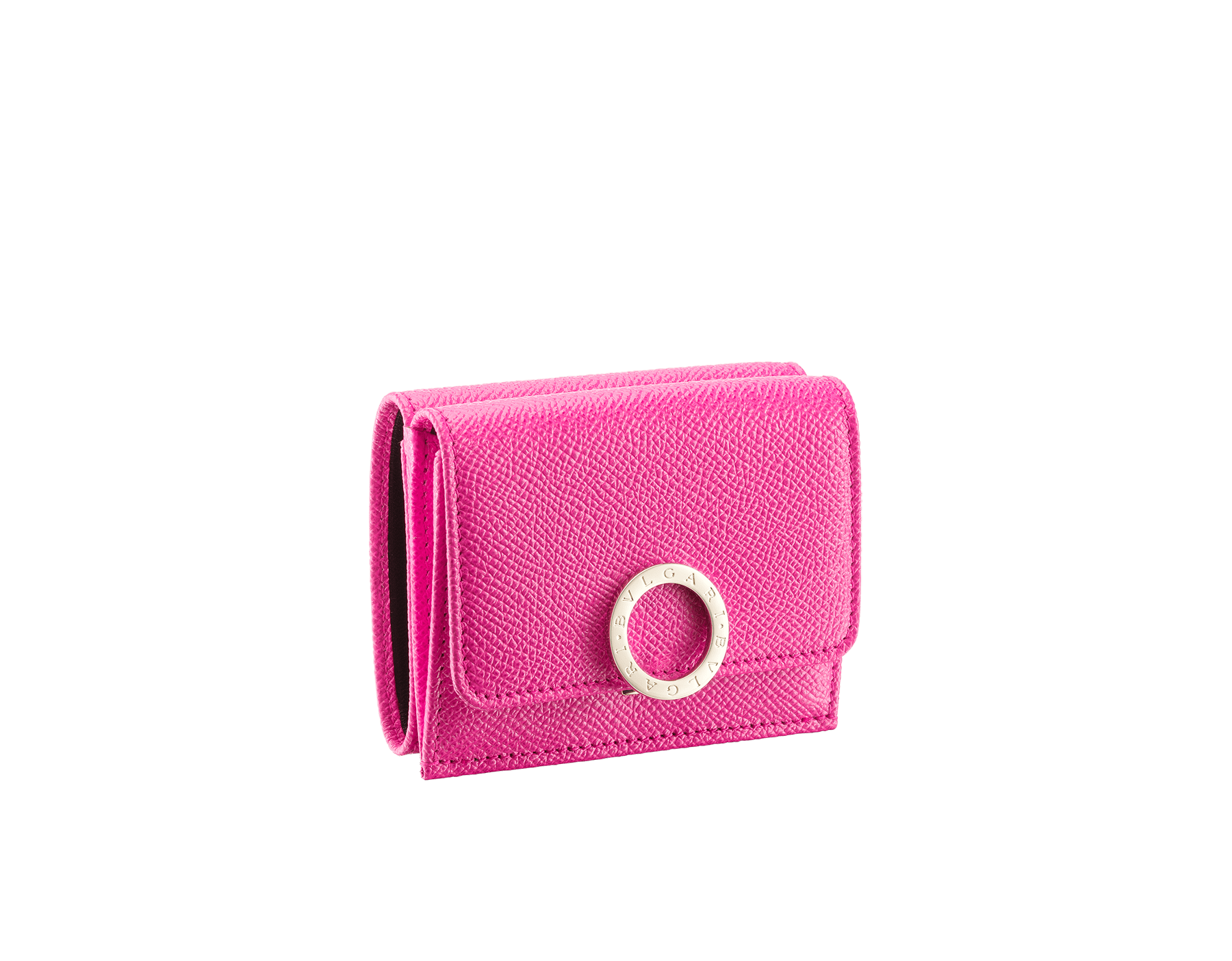 BVLGARI BVLGARI super compact wallet in black grained calf leather and black nappa leather. Iconic logo closure clip in light gold plated brass. 579-MINICOMPACTa image 1