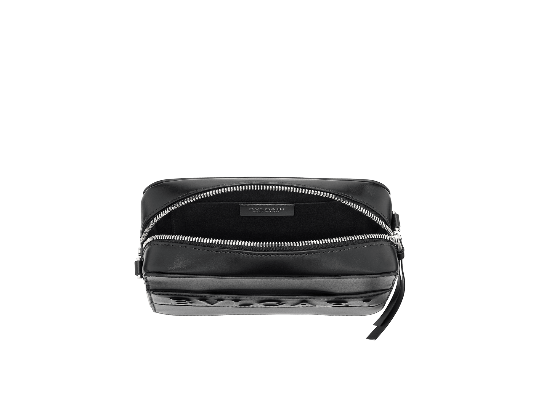"""Bvlgari Logo"" camera bag in mimetic jade calf leather with zipped closure. Dark ruthenium plated brass hardware. Camera-Bag image 3"