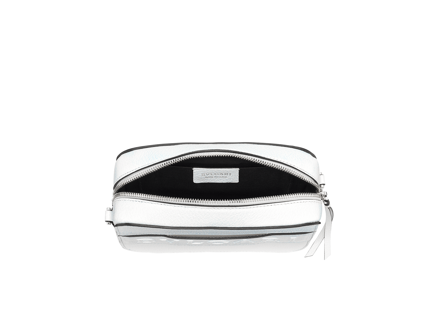 """Bvlgari Logo"" camera bag in mimetic jade calf leather with zipped closure. Dark ruthenium plated brass hardware. Camera-Bag image 4"
