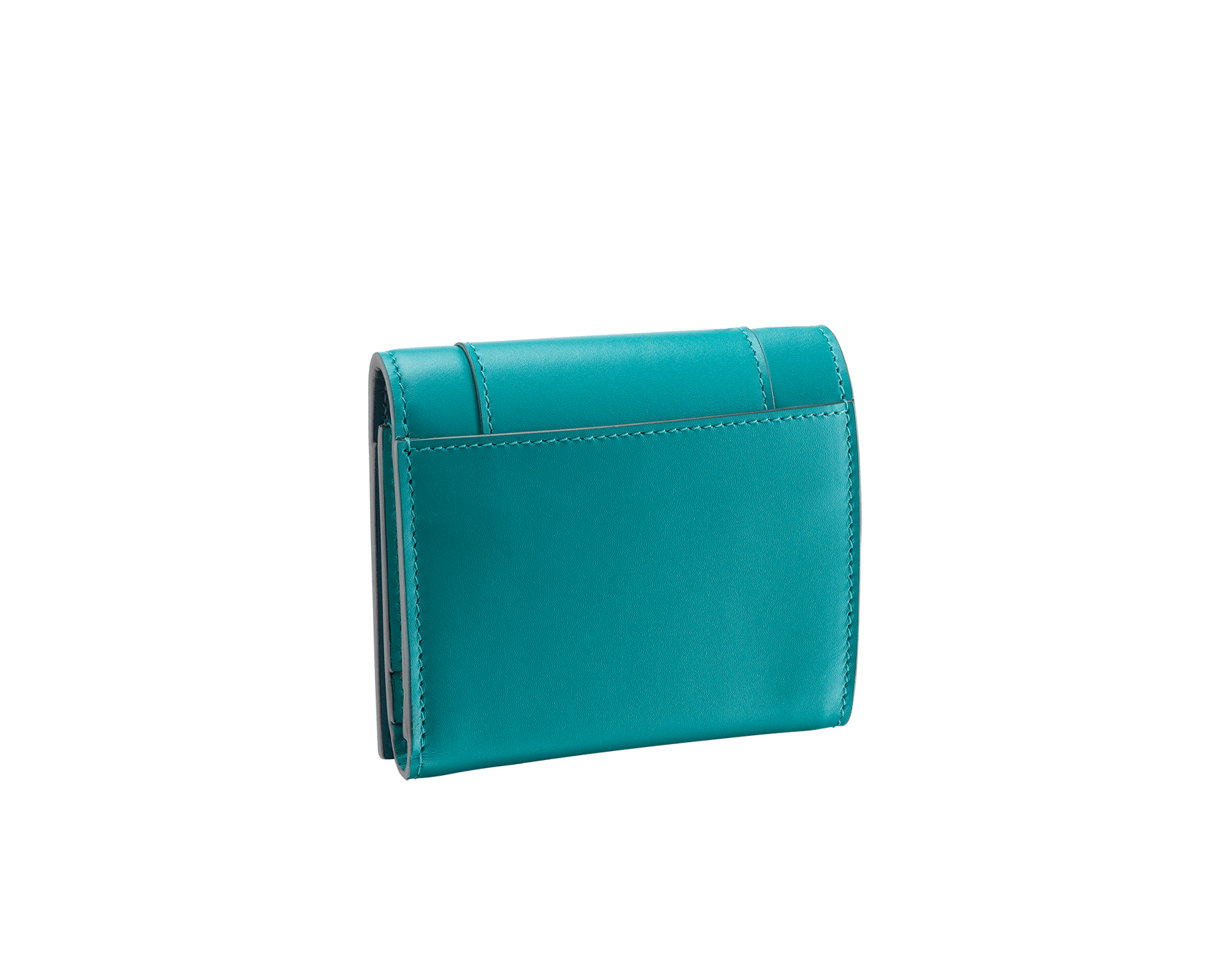 Serpenti Forever super compact wallet in deep jade and tropical turquoise calf leather. Iconic snakehead stud closure in black and white enamel with green malachite enamel eyes. 288034 image 3