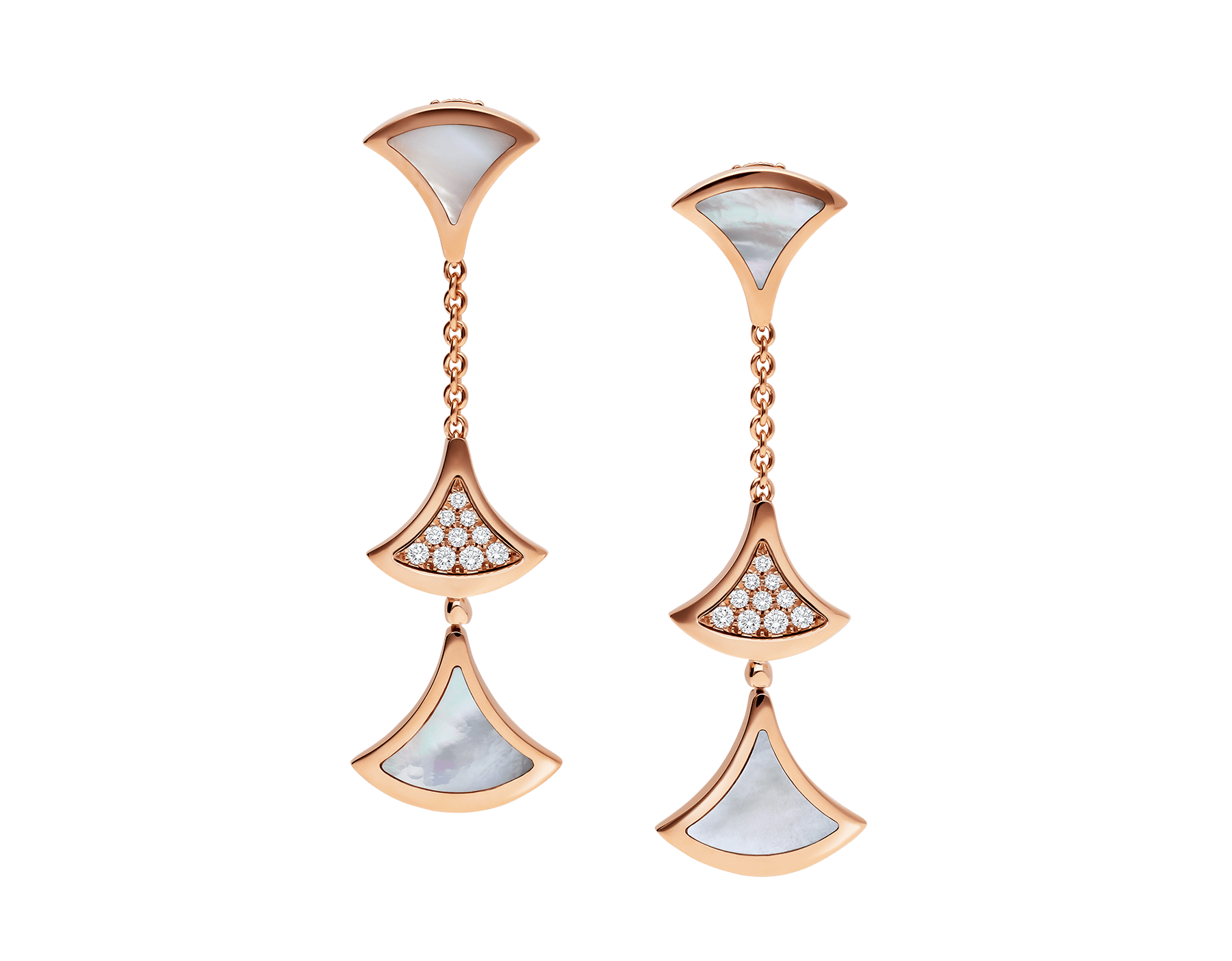 DIVAS' DREAM earrings in 18 kt rose gold, set with mother-of-pearl elements and pavé diamonds. 352603 image 1