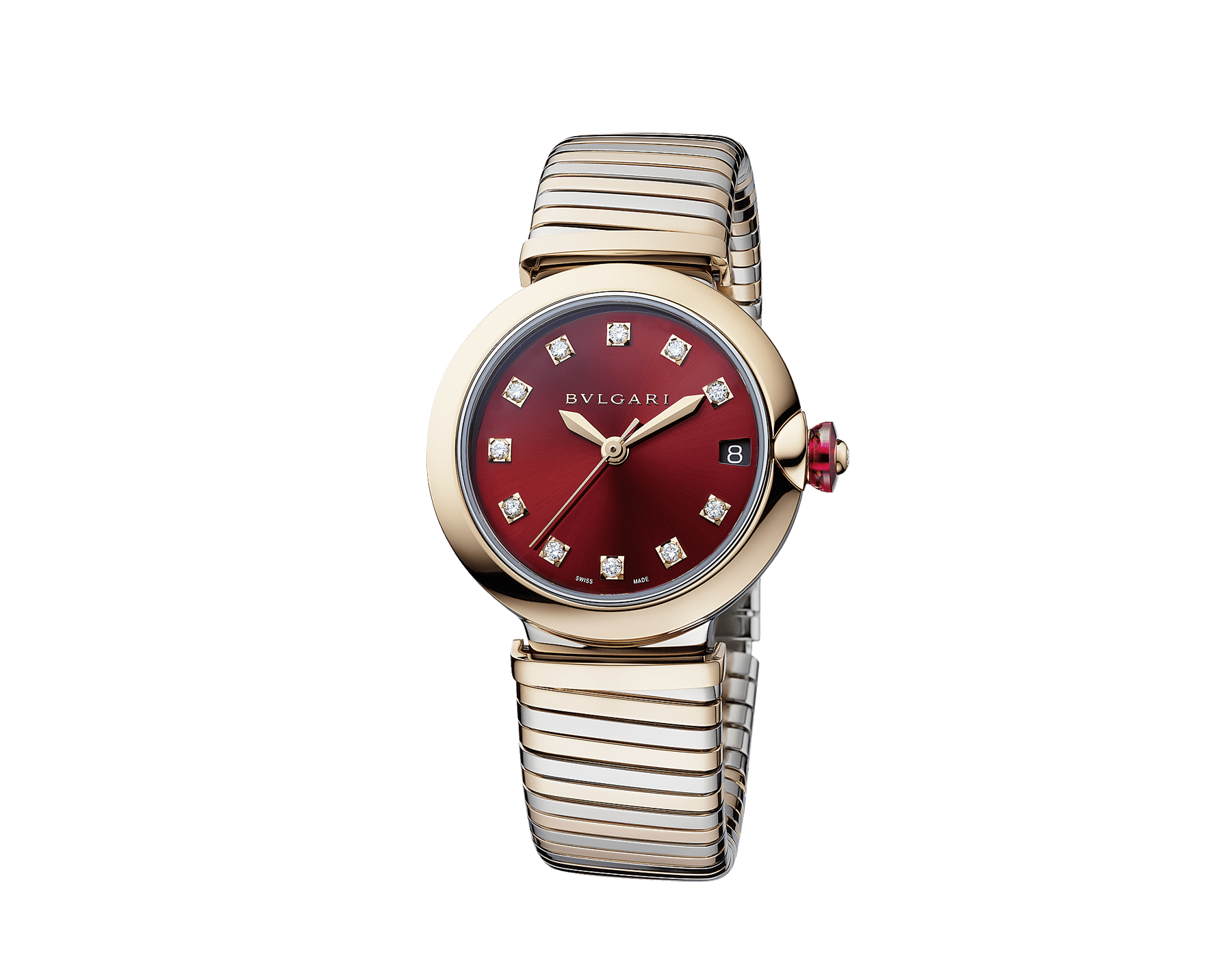 LVCEA watch with stainless steel case, 18 kt rose gold bezel, red lacquered dial, diamond indexes and tubogas bracelet in 18 kt rose gold and stainless steel 103123 image 2
