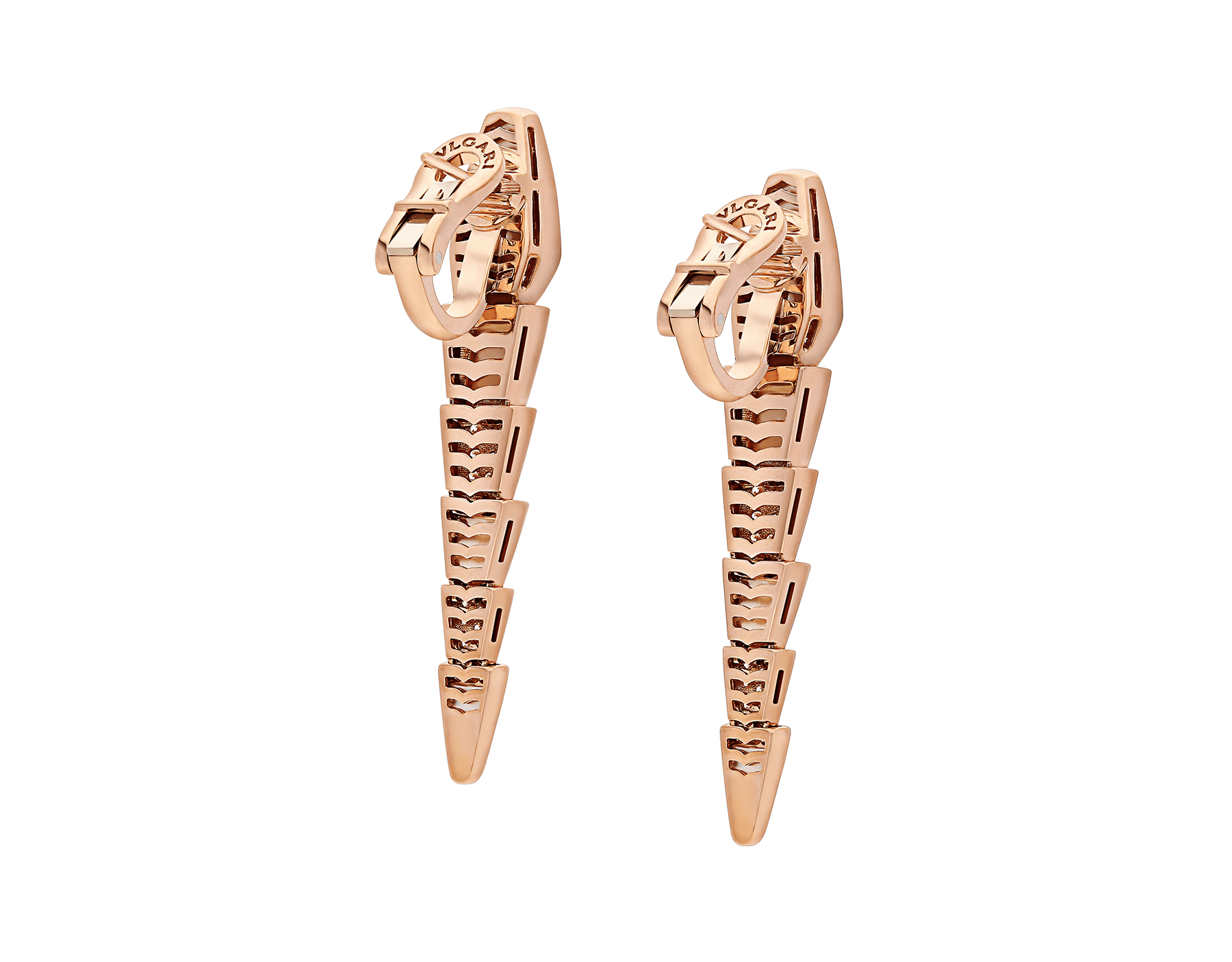 Serpenti earrings in 18 kt rose-gold set with mother-of-pearl elements and pavé diamonds. 350678 image 3