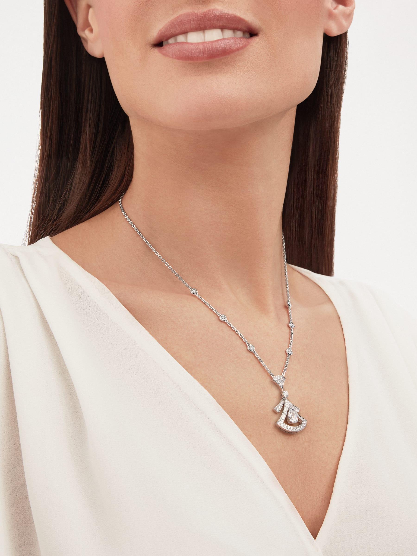 Divas' Dream 18K 白金項鍊,鑲飾 1 顆梨形鑽石(0.80 克拉)、圓形明亮型切割鑽石(0.77 克拉)和密鑲鑽石(0.71 克拉)。 358220 image 4