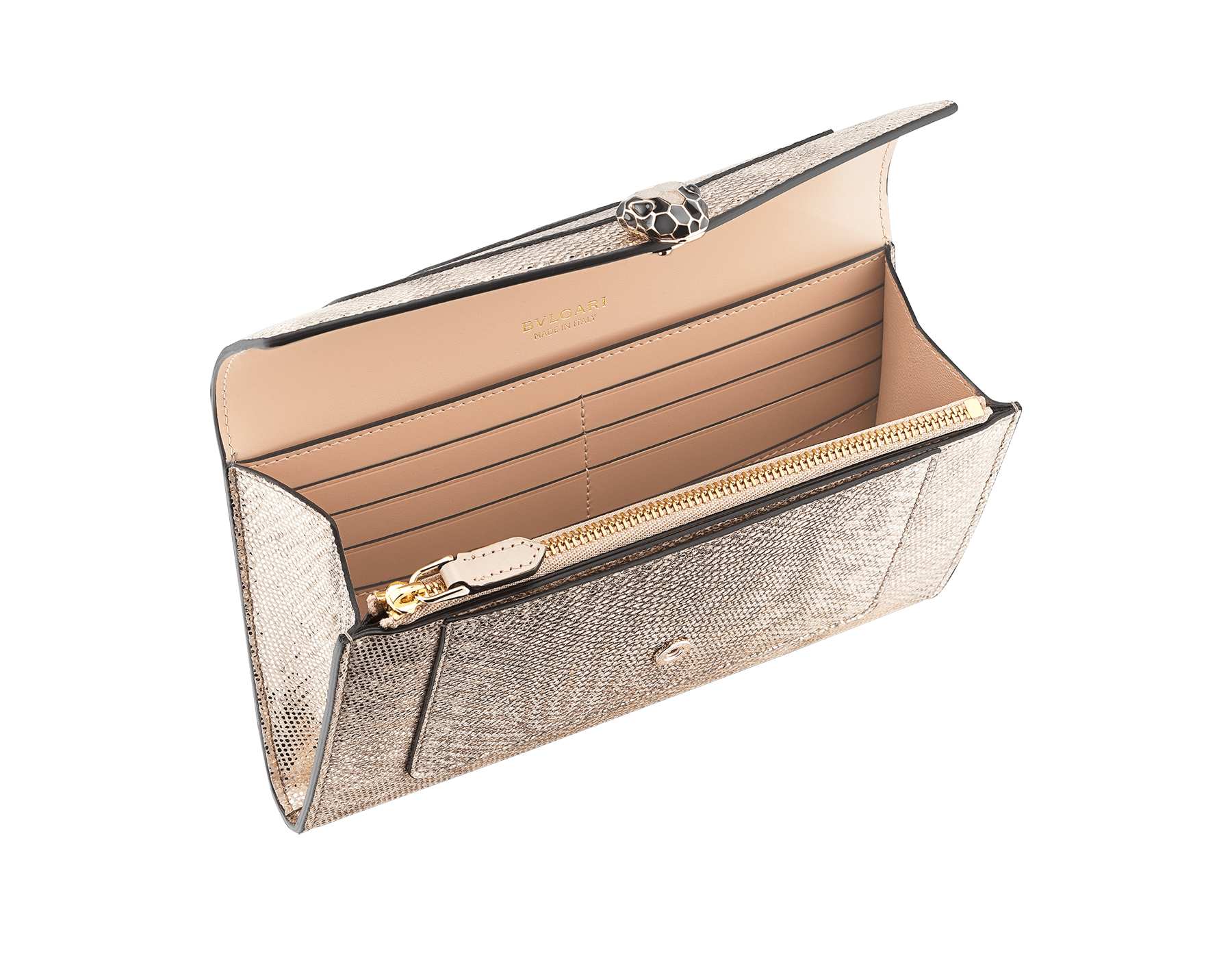 """Serpenti Forever"" new large wallet in metallic Milky Opal beige karung skin and Milky Opal beige calfskin. Alluring snakehead closure in light gold-plated brass with black and glittery Milky Opal beige enamel and black onyx eyes. 290819 image 2"