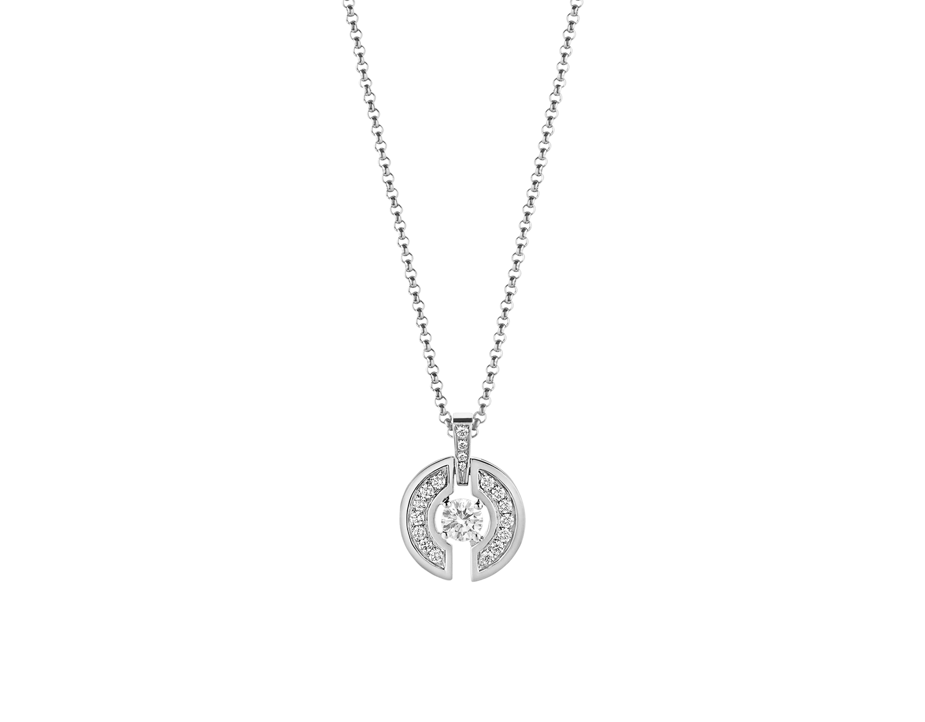 Parentesi necklace with 18 kt white gold chain and pendant, set with a central diamond. 354311 image 2