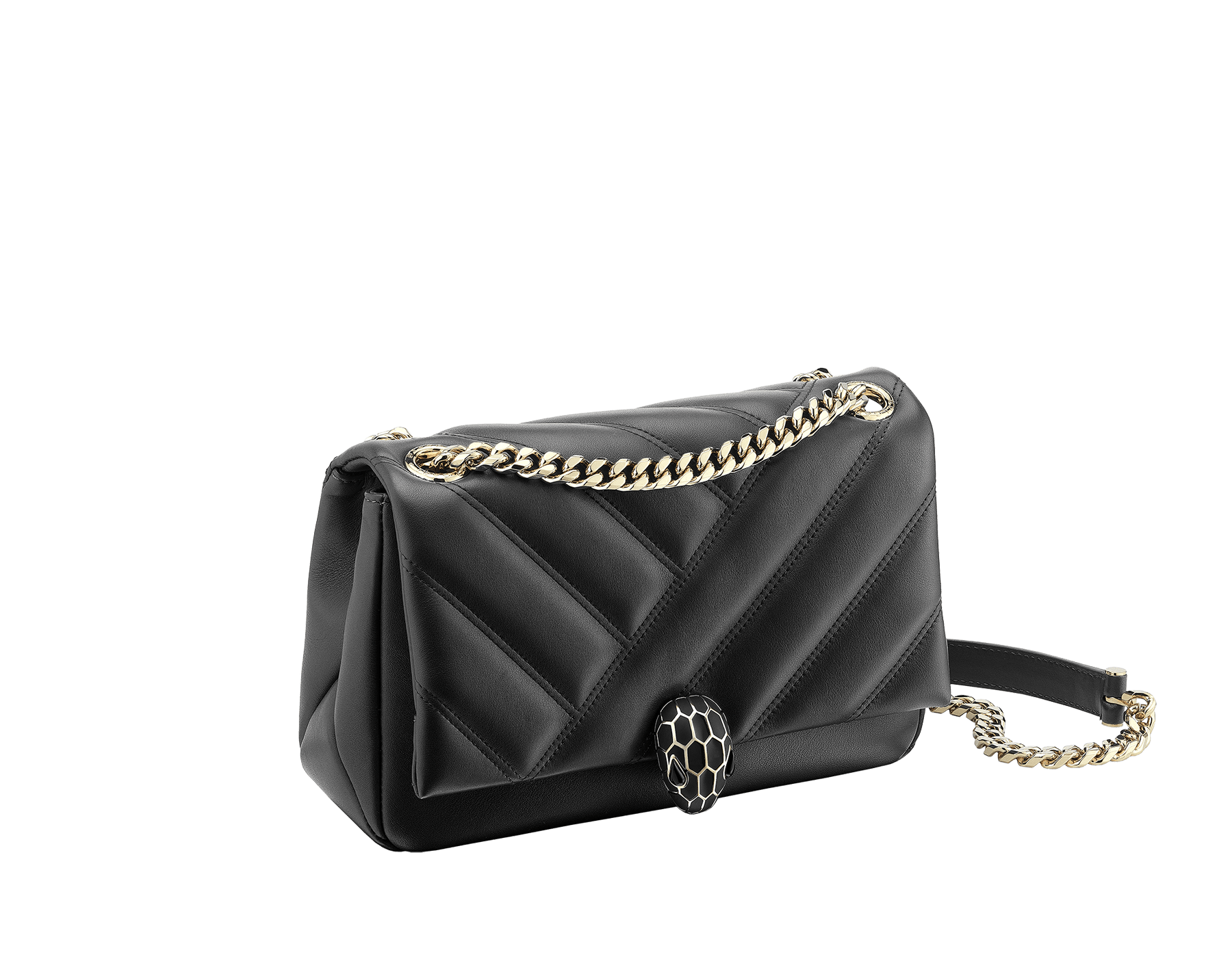 Serpenti Cabochon shoulder bag in soft matelassé black nappa leather with graphic motif and black calf leather. Snakehead closure in rose gold plated brass decorated with matte black and shiny black enamel, and black onyx eyes. 287987 image 2