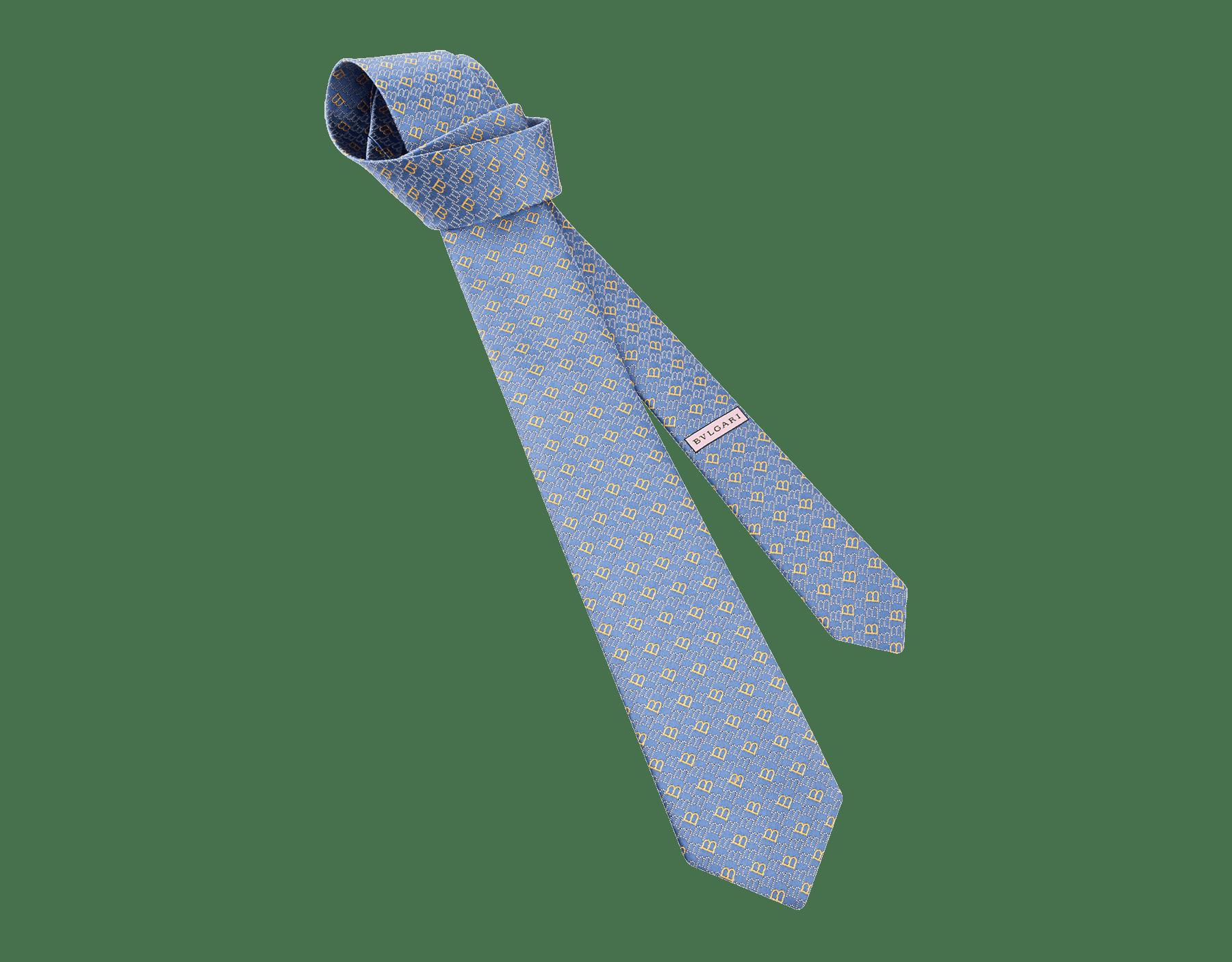 Corbata de siete pliegues azul claro en seda de jacquard fina Logo B Point. 244388 image 1