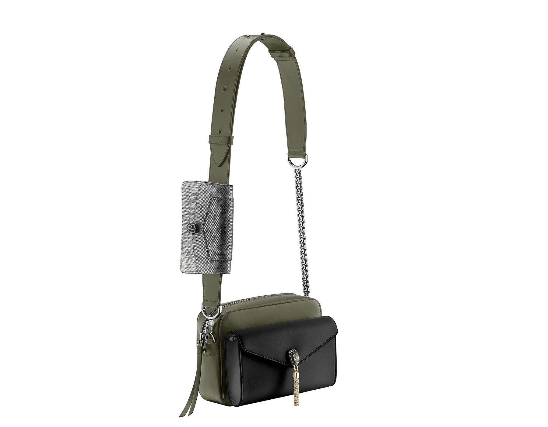 Mix the versatile camera bag with the matching pochettes 7-ways-bag-mimetic-jade-camera-bag-and-two-pochettes image 1