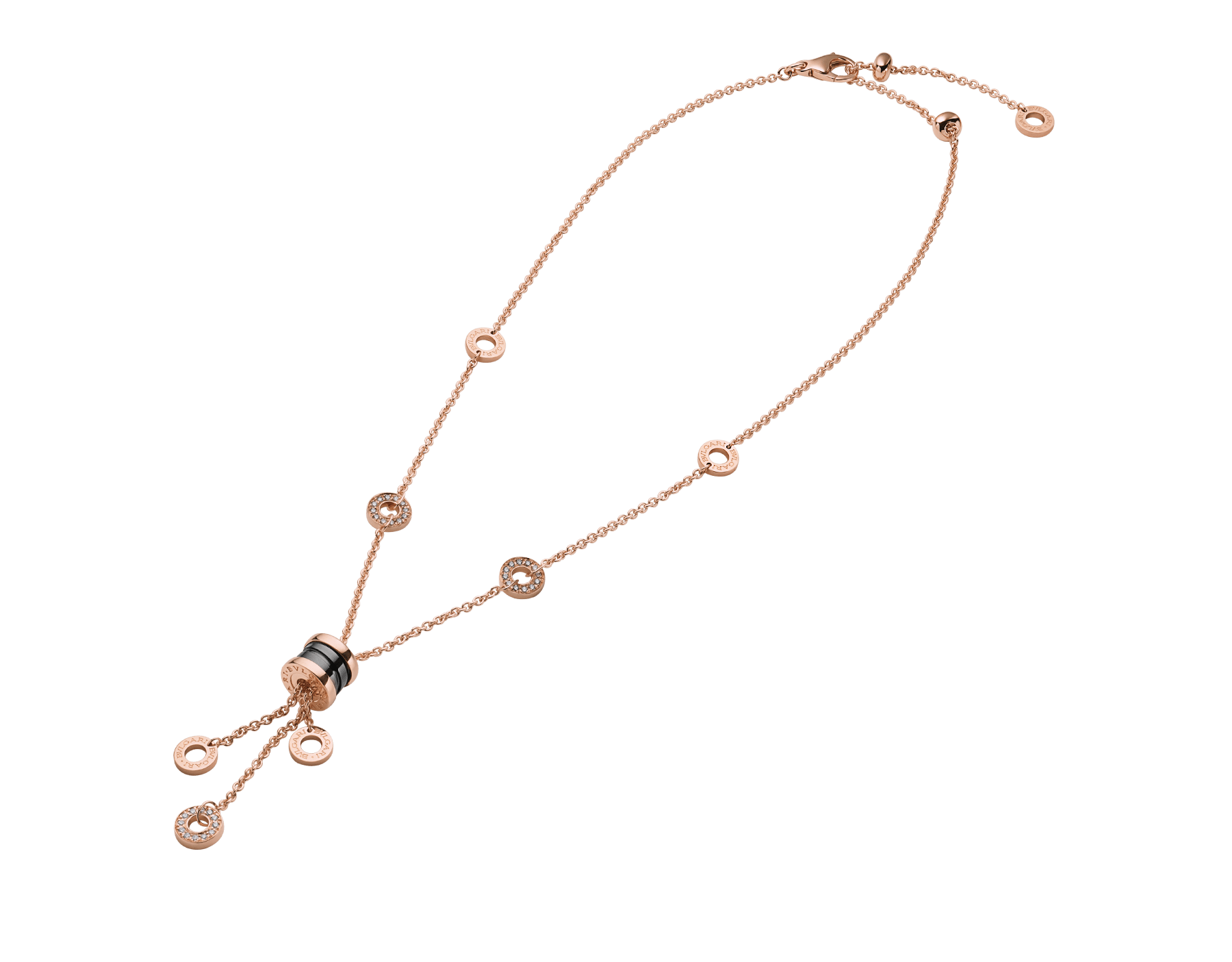 B.zero1 necklace with 18 kt rose gold chain set with pavé diamonds and pendant in 18 kt rose gold and black ceramic. 347578 image 2