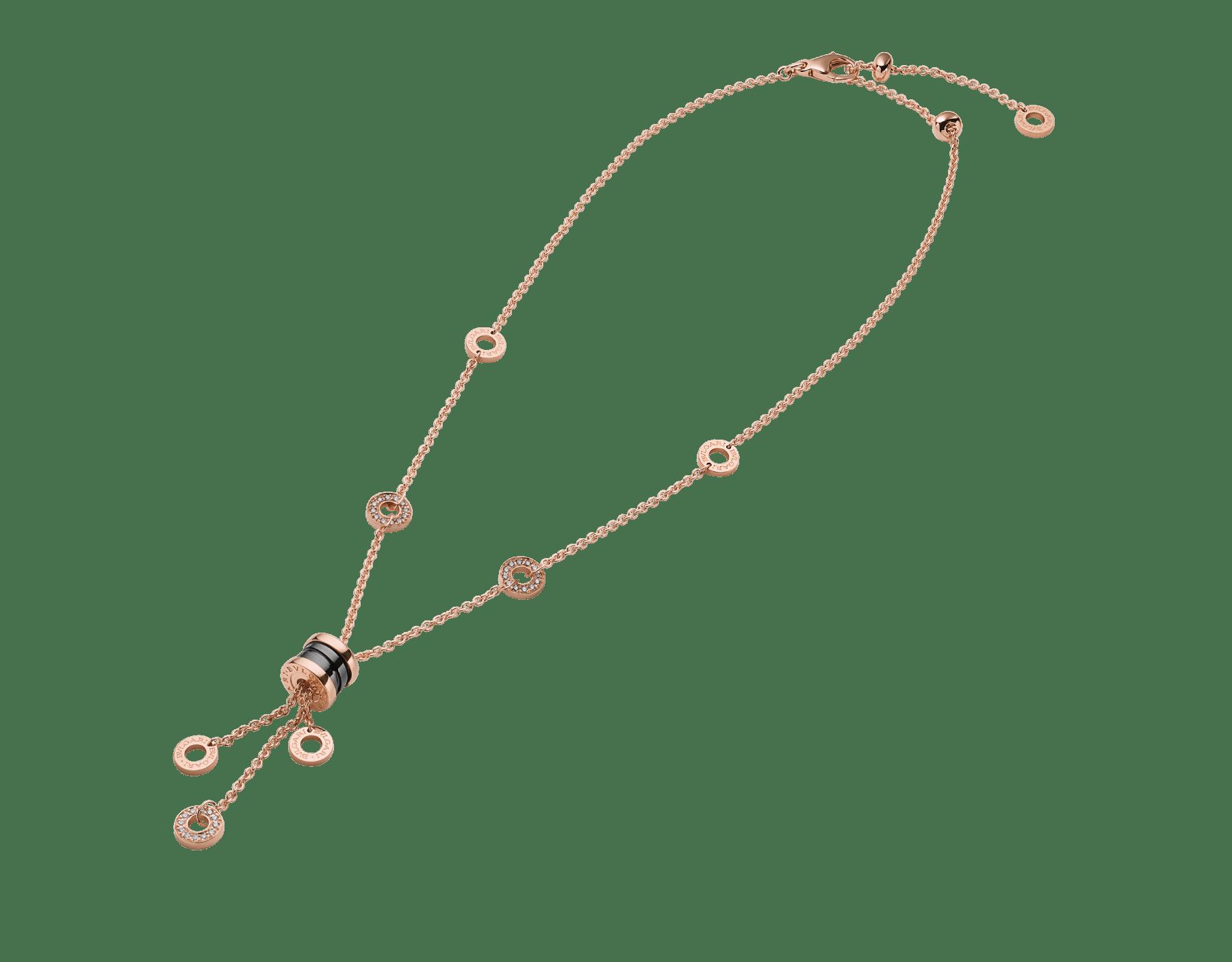 Collier B.zero1 avec chaîne en or rose 18K avec pavé diamants et pendentif en or rose 18K et céramique noire. 347578 image 2