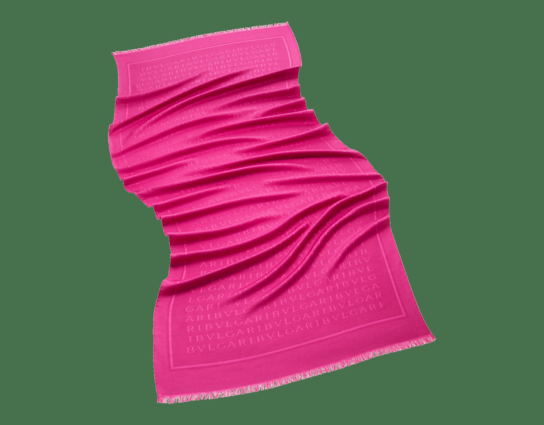Estola Lettere Maxi de lana de seda fina color turmalina rosa. 244482 image 1