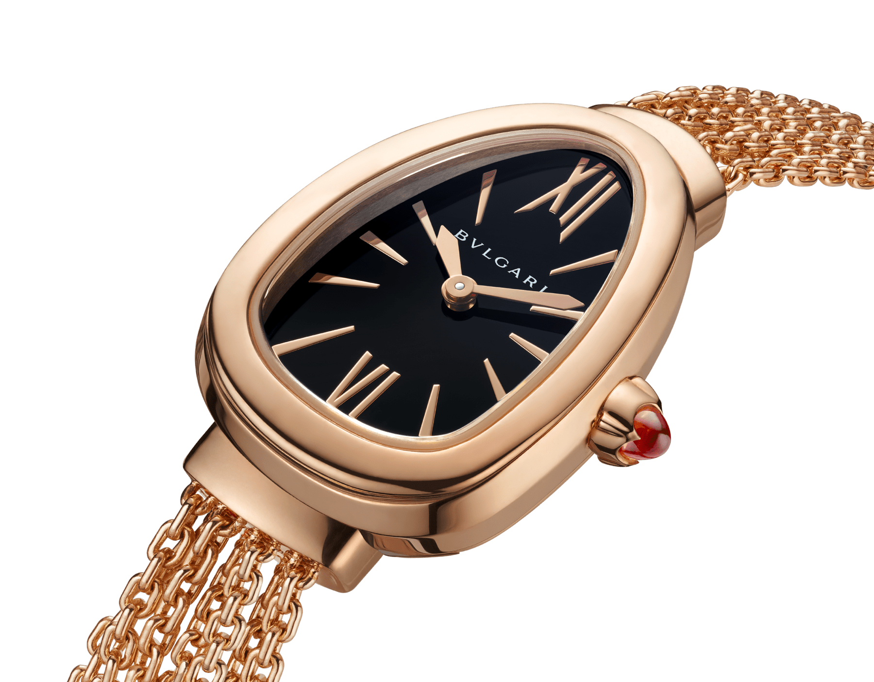 Serpenti watch in 18 kt rose gold case and interchangeable chain bracelet, with black lacquered dial 102728 image 3