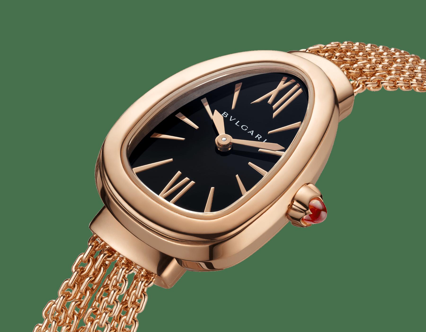 Serpenti Uhr mit Gehäuse und austauschbarem Kettenarmband aus 18Karat Roségold mit schwarz lackiertem Zifferblatt 102728 image 3