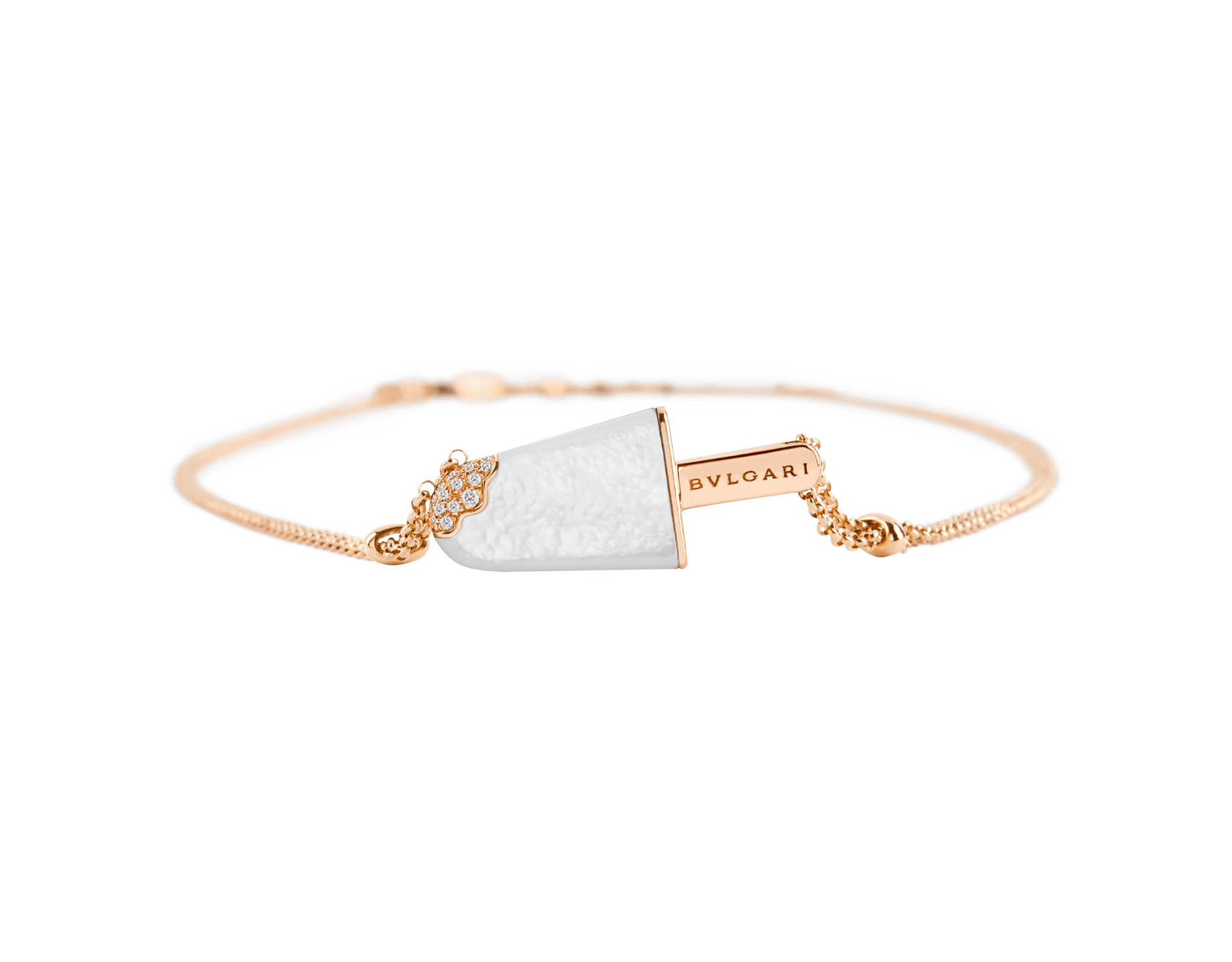 BVLGARI BVLGARI Gelati 18 kt rose gold necklace set with mother-of-pearl and pavé diamonds 356132 image 2