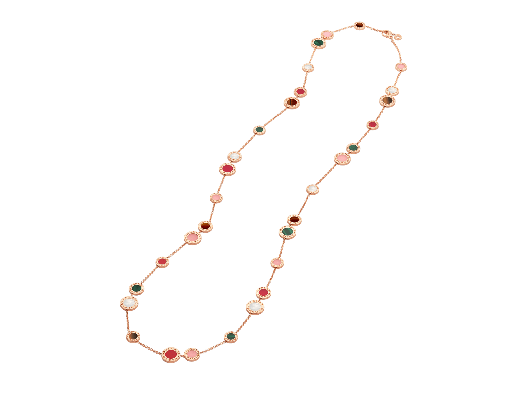 BVLGARI BVLGARI 18 kt rose gold sautoir set with mother-of-pearl, pink opal, tiger's eye, malachite and carnelian elements 356225 image 2