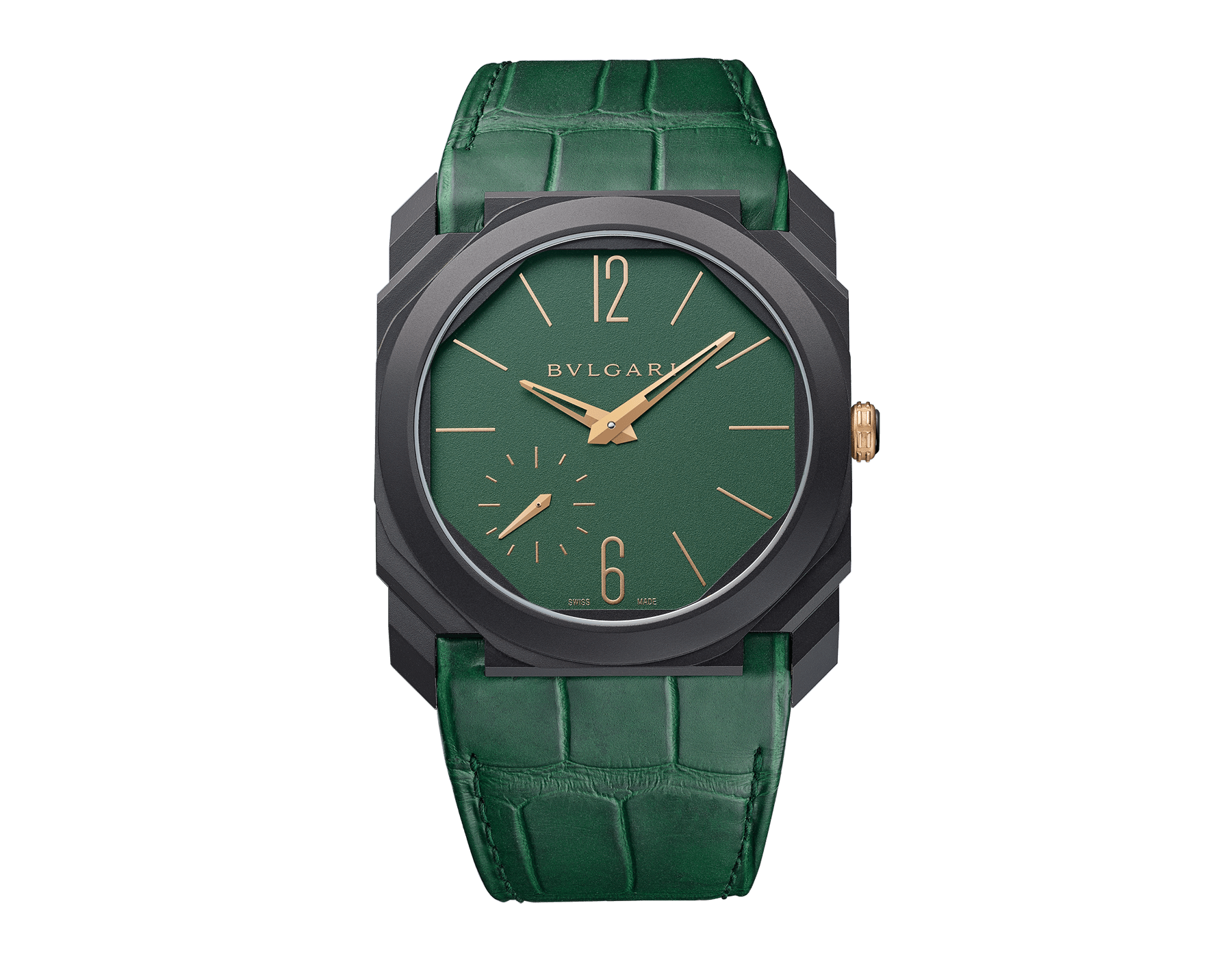 Octo Finissimo Automatic watch with extra-thin mechanical manufacture movement, automatic winding with platinum microrotor, small seconds, 40 mm titanium case with Diamond Like Carbon treatment, transparent case back, green dial and green alligator bracelet. Water-resistant up to 30 metres 103151 image 1