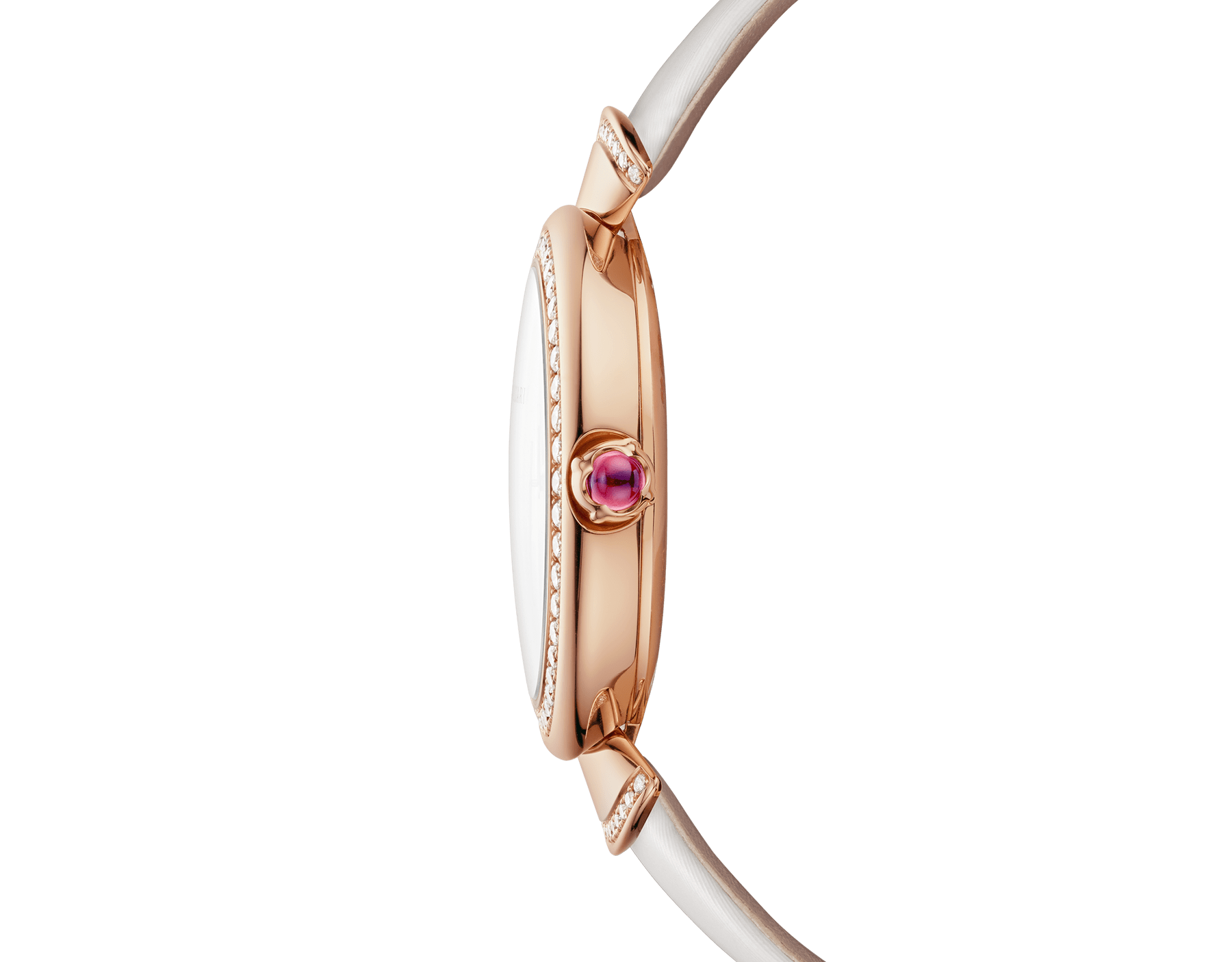 DIVAS' DREAM watch with 18 kt rose gold case set with brilliant-cut diamonds, acetate dial, diamond indexes and white satin bracelet 102575 image 3