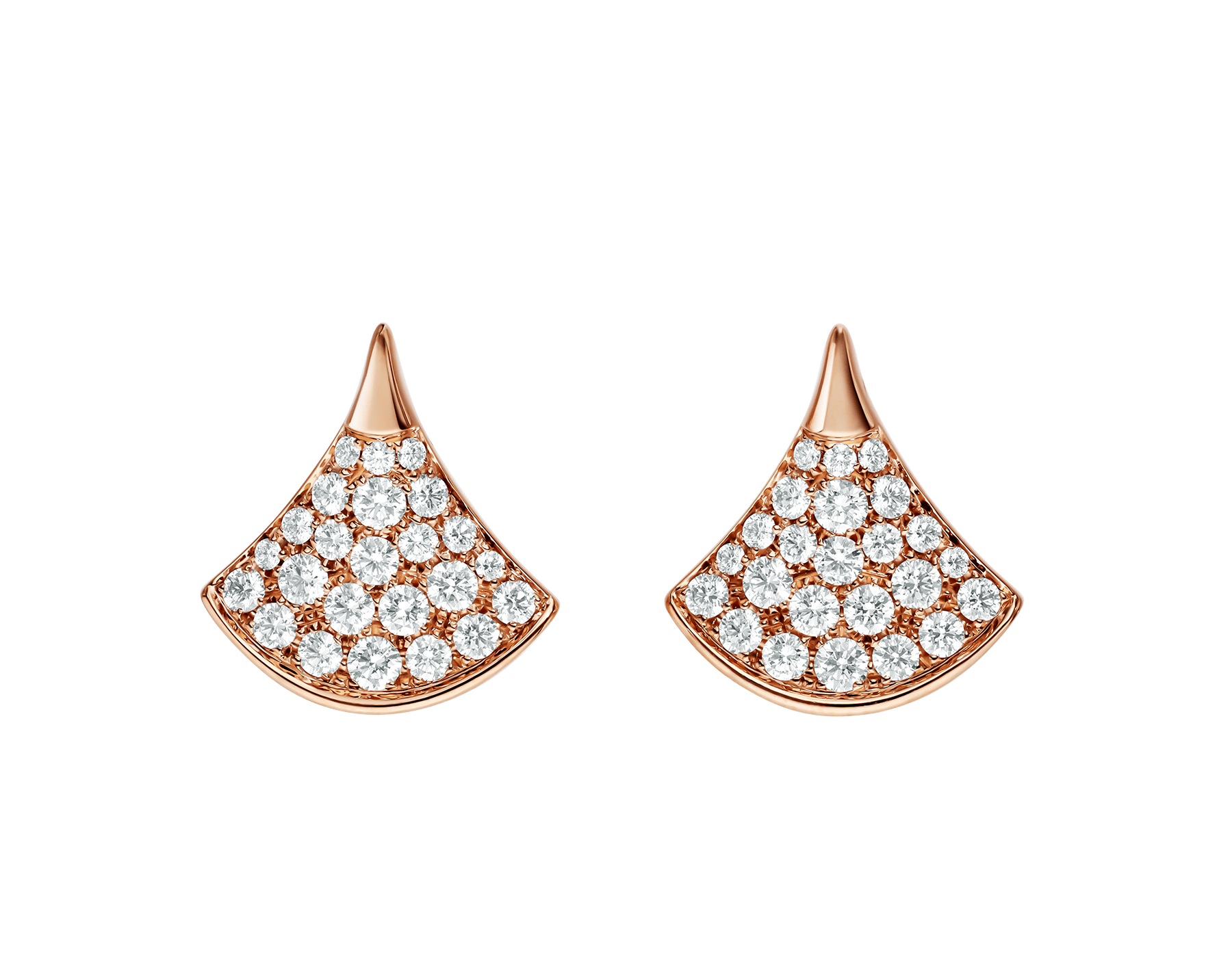 DIVAS' DREAM stud earrings in 18 kt rose gold, set with pavé diamonds (0.90 ct). 352601 image 1