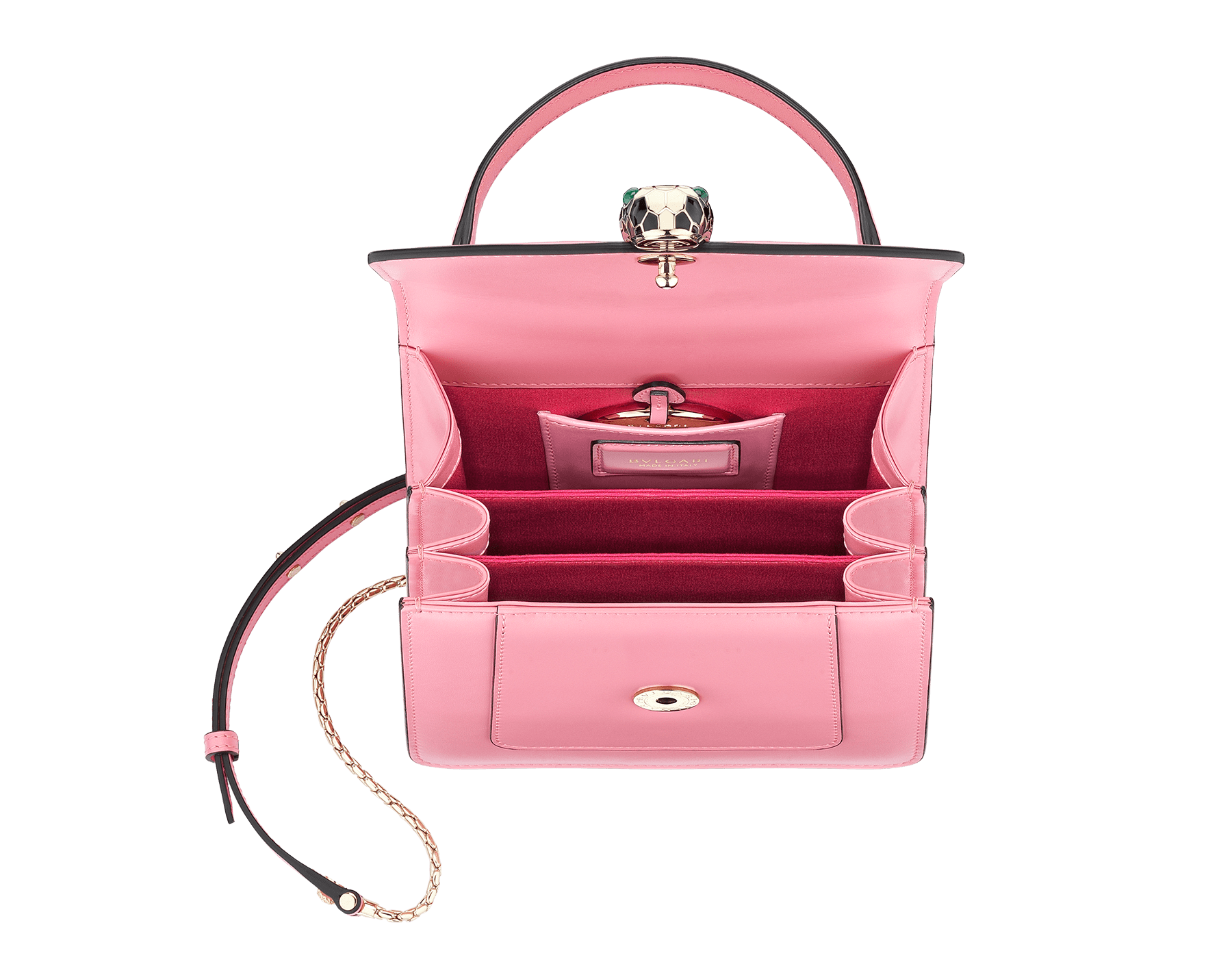 """Serpenti Forever"" crossbody bag in candy quartz calf leather. Iconic snakehead closure in light gold plated brass enriched with black and white enamel and green malachite eyes 287029 image 3"