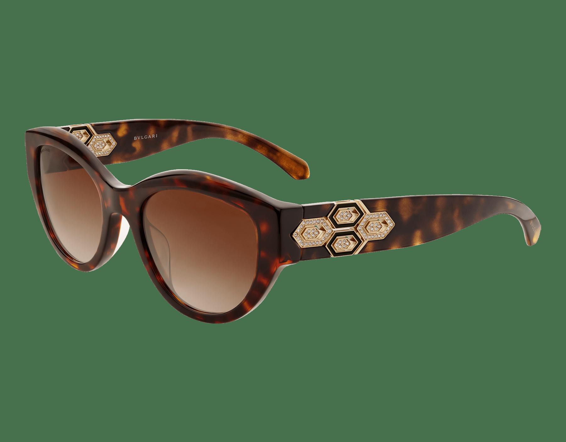 Serpenti brown 貓眼醋酸纖維太陽眼鏡,Serpenti 金屬元素飾以水晶。。 903846 image 1