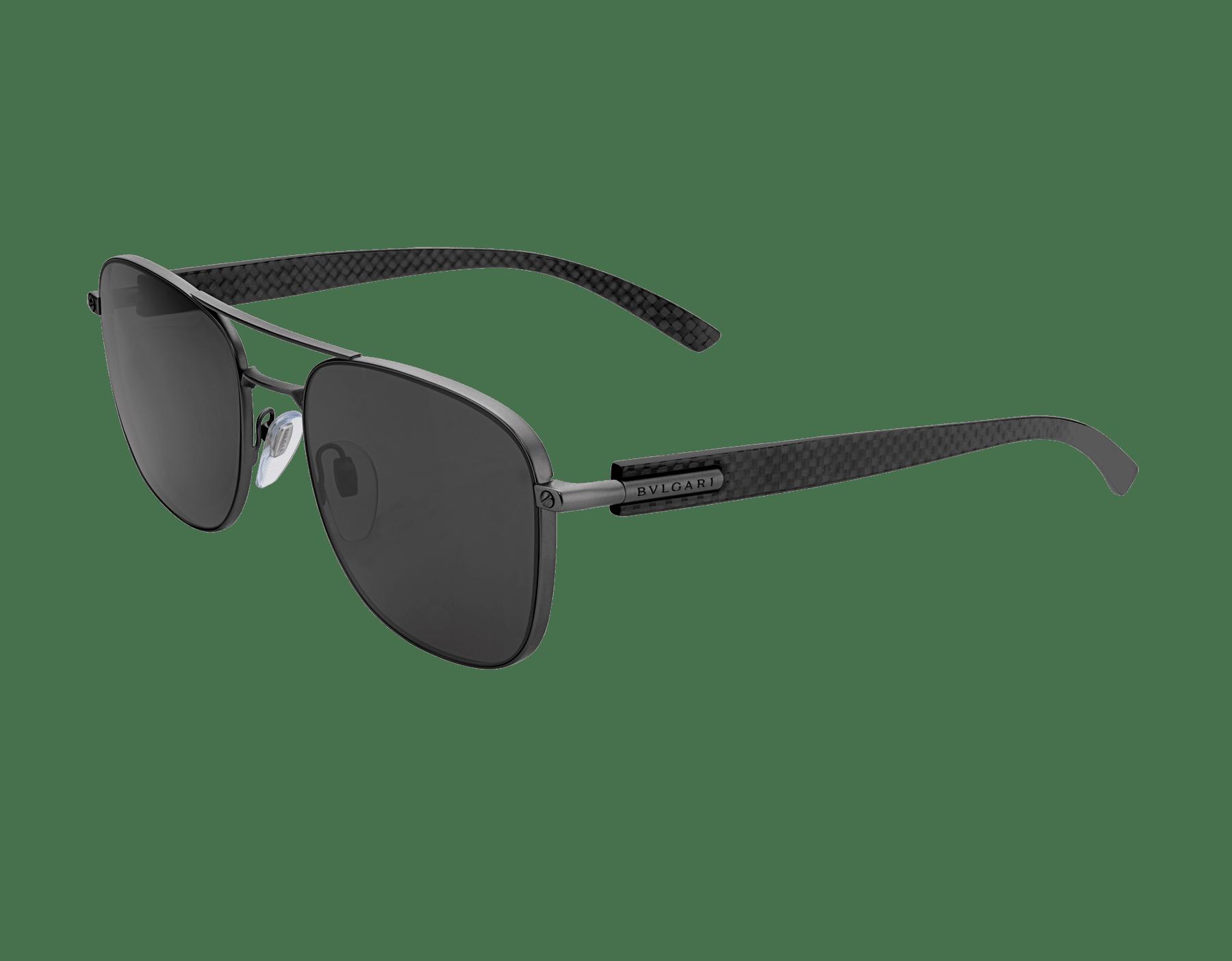 Bulgari Diagono rectangular metal sunglasses with metal double bridge and carbon fibre arms. 903911 image 1