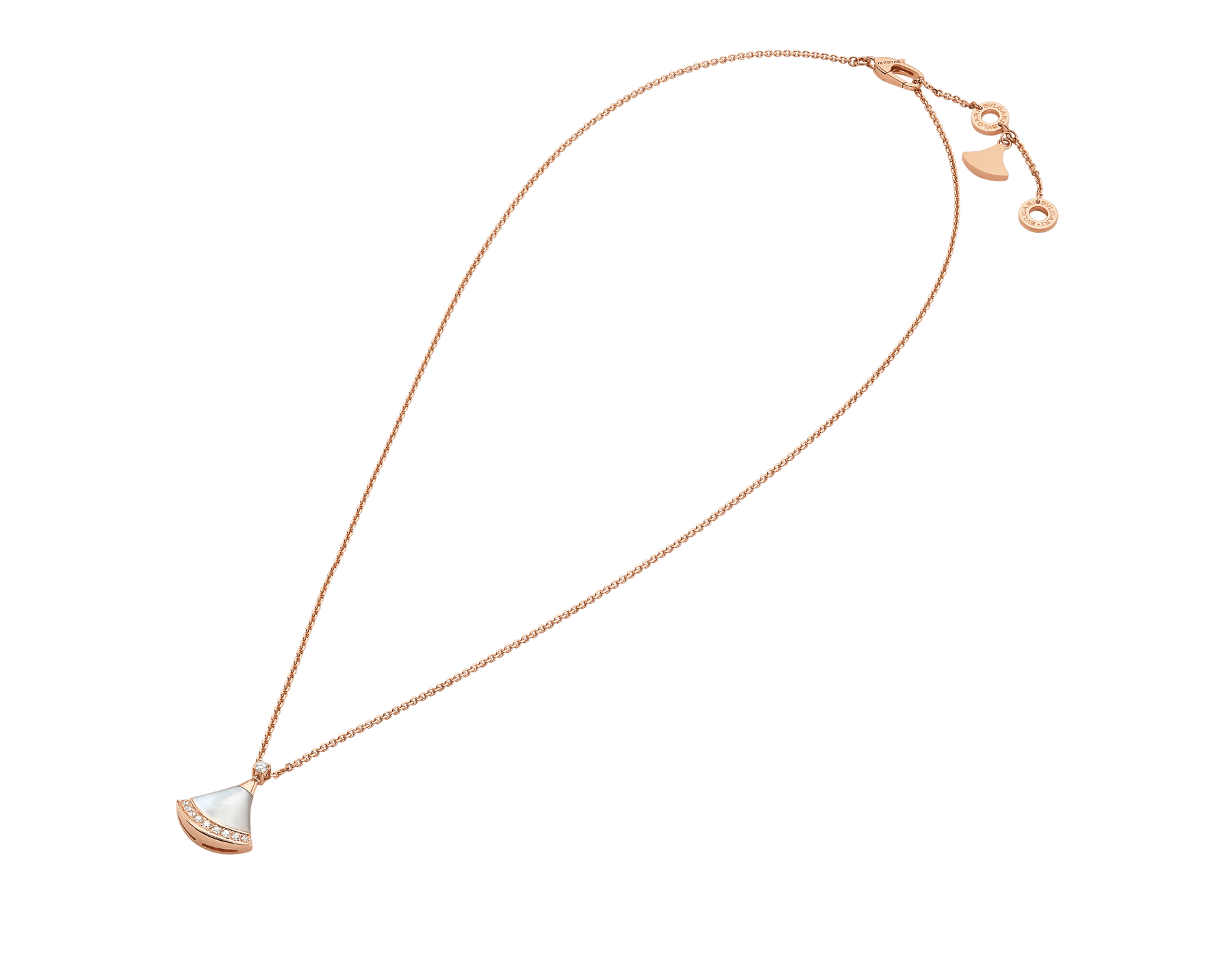 DIVAS' DREAM 18K 玫瑰金項鍊,鑲飾 1 顆鑽石(0.03 克拉)、珍珠母貝和密鑲鑽石(0.10 克拉)。 358365 image 2