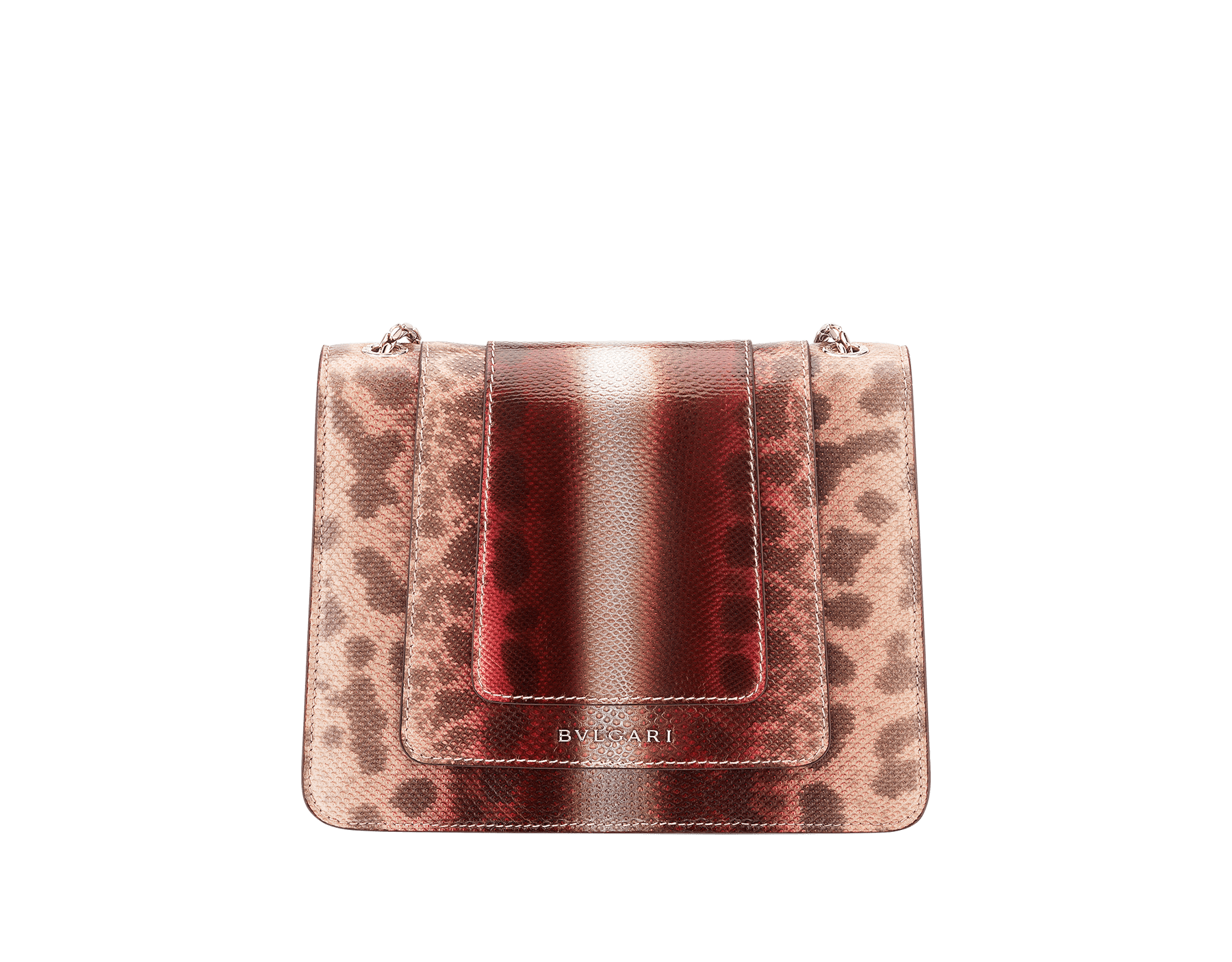 Serpenti Forever crossbody bag in rosa di francia Sahara karung skin. Iconic snakehead closure in light gold plated brass embellished with Roman garnet and black enamel and black onyx eyes. 289012 image 3