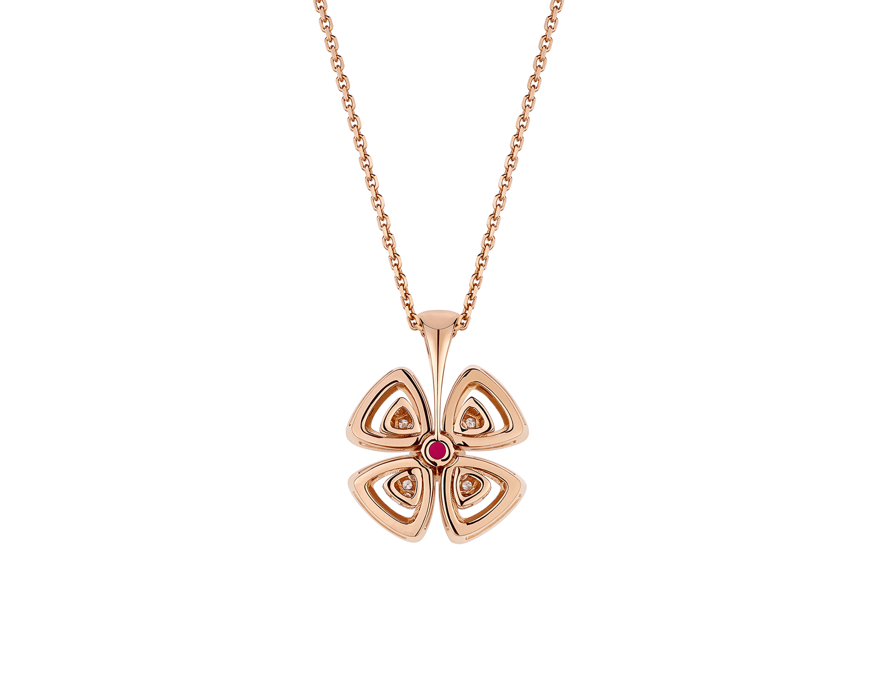 Fiorever 18 kt rose gold pendant necklace set with a central brilliant-cut ruby (0.35 ct) and pavé diamonds (0.31 ct) 358428 image 4