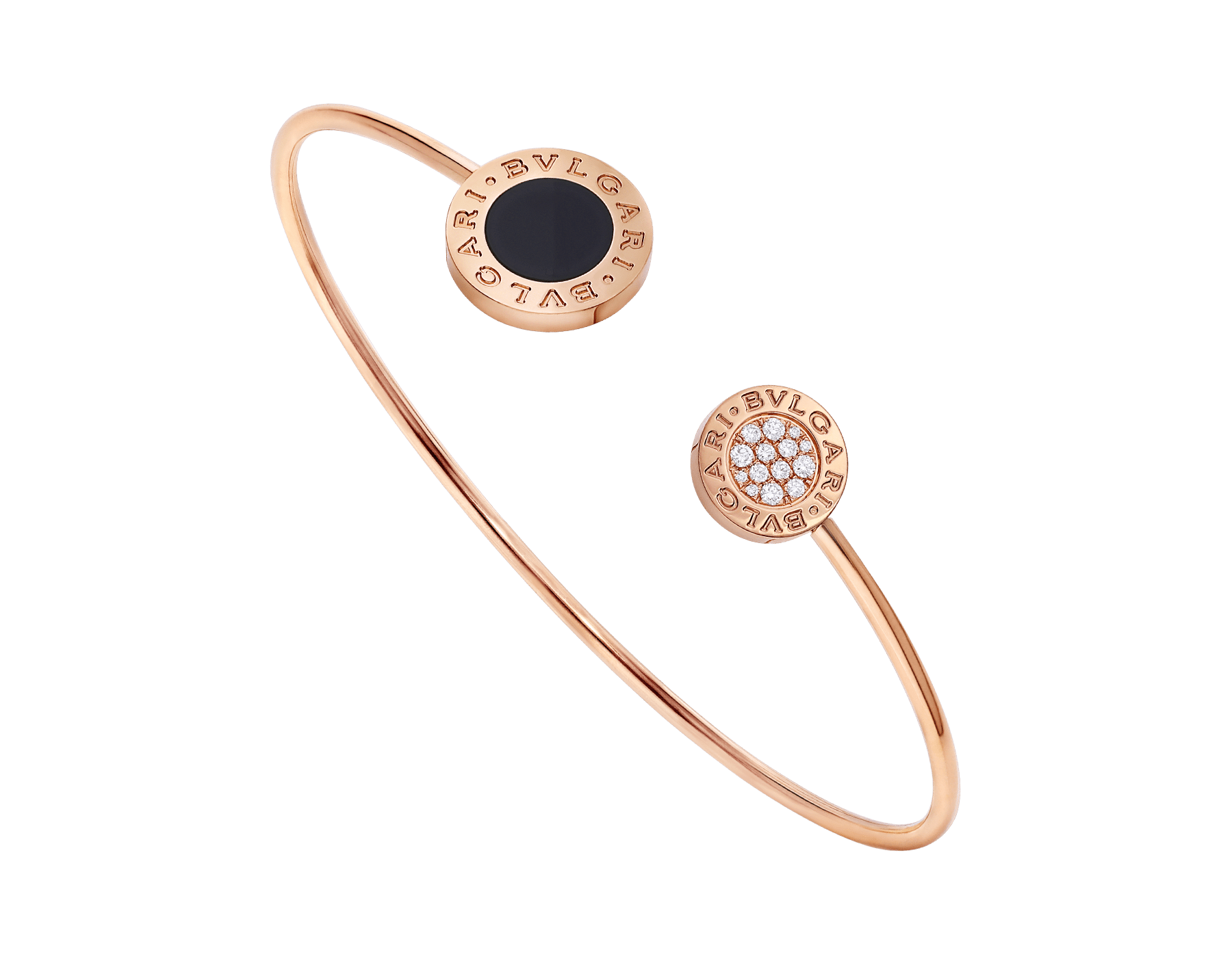 BVLGARI BVLGARI 18 kt rose gold bracelet set with onyx element and pavé diamonds (0.09 ct) BR858633 image 1
