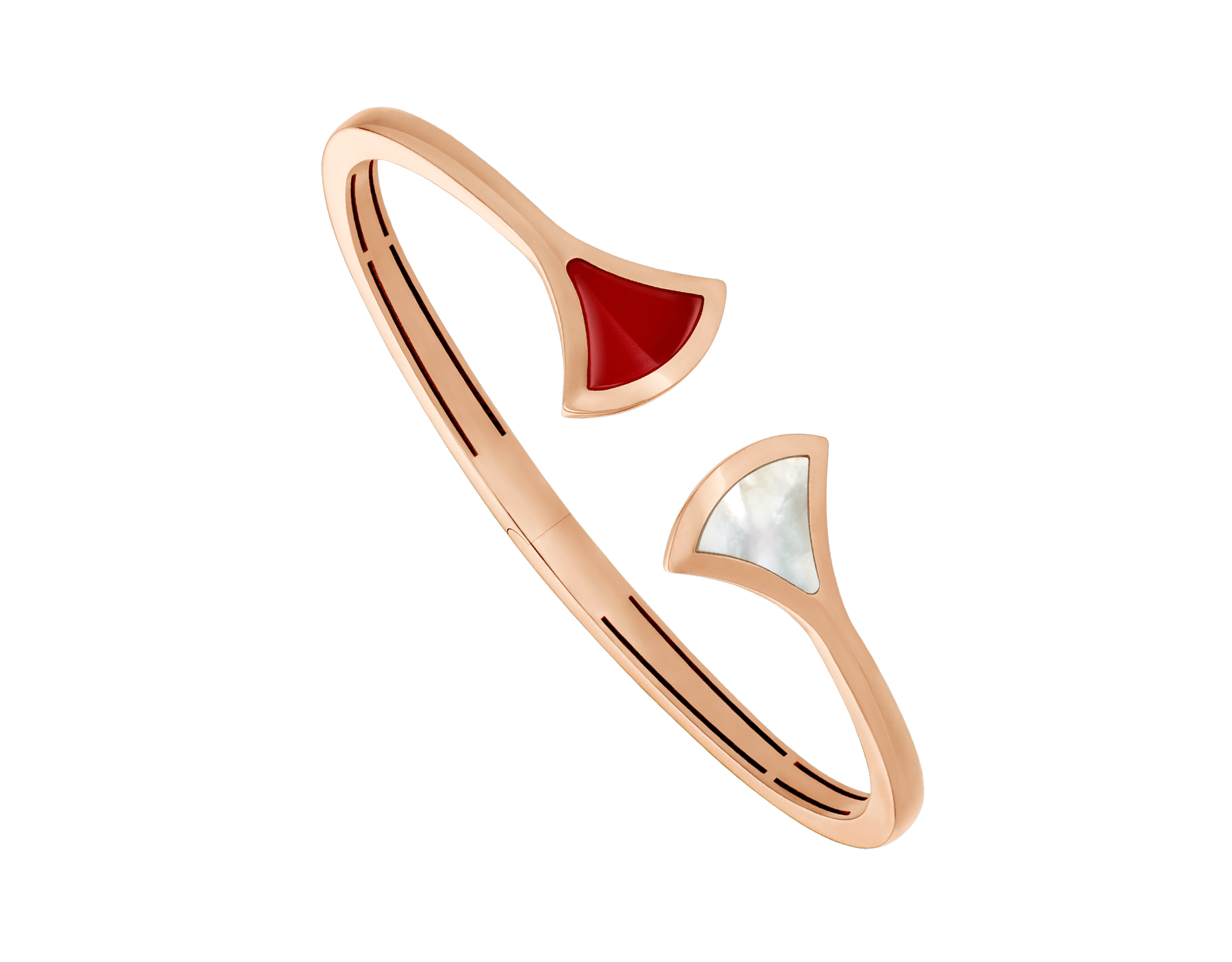 DIVAS' DREAM 18 kt rose gold bangle bracelet set with mother-of-pearl and carnelian elements BR858678 image 1