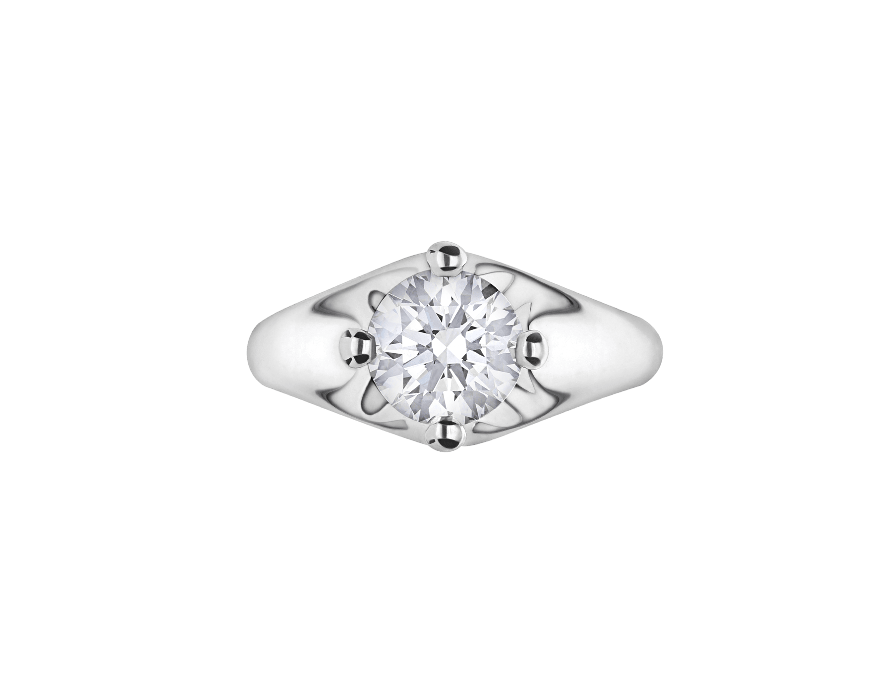 Corona platinum solitaire ring set with a round brilliant cut diamond 323743 image 3