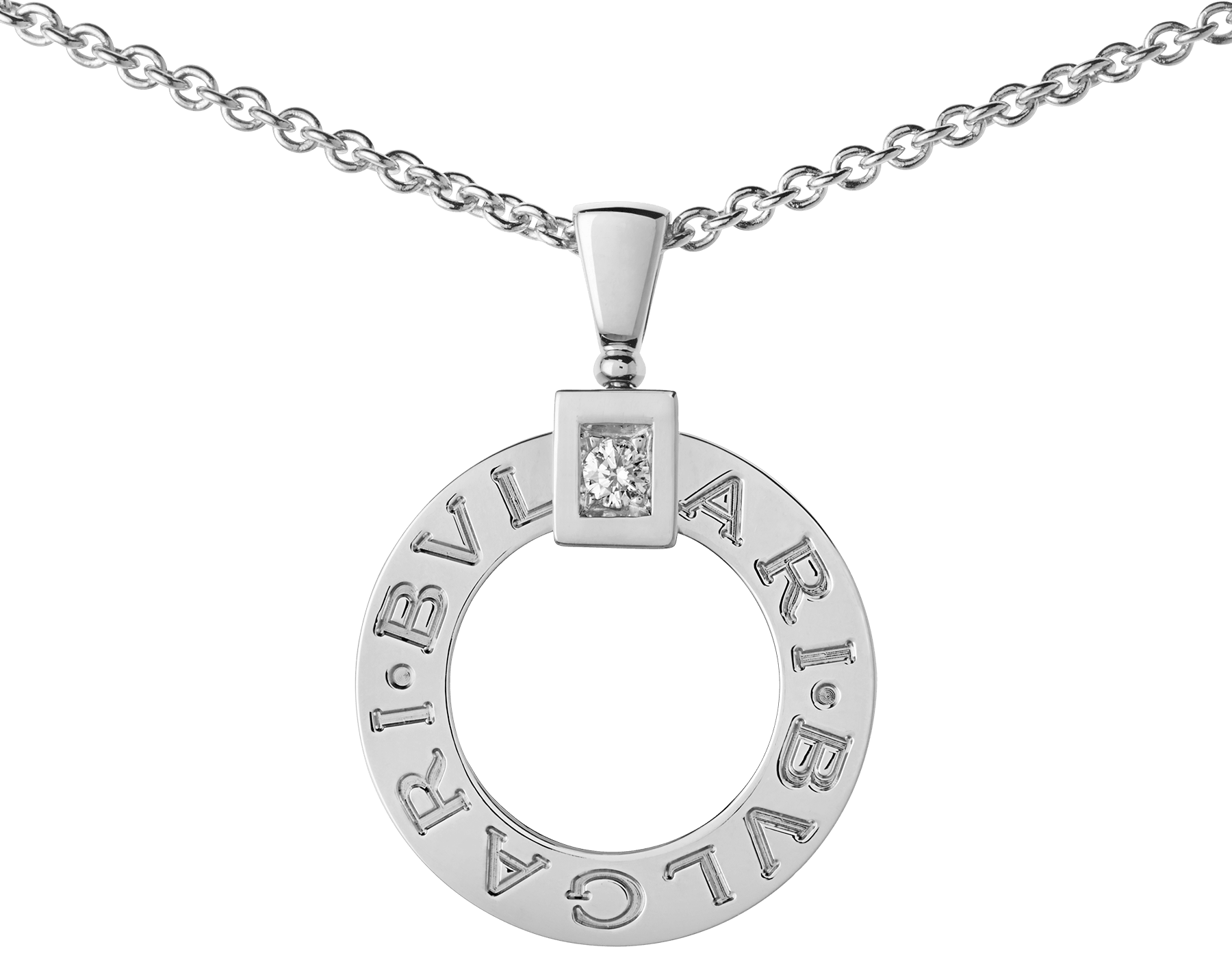 BVLGARI BVLGARI necklace with 18 kt white gold chain and 18 kt white gold pendant set with a diamond 342074 image 3