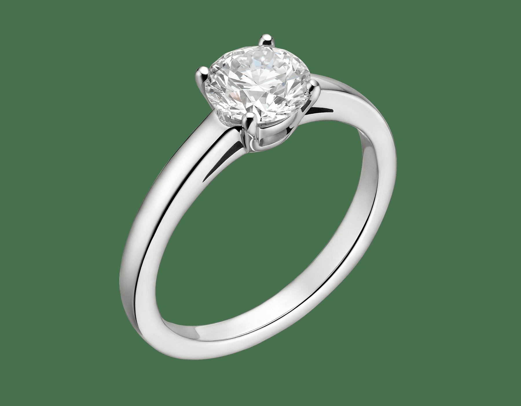 Solitaire Griffe en platine serti d'un diamant rond taille brillant AN201215 image 6