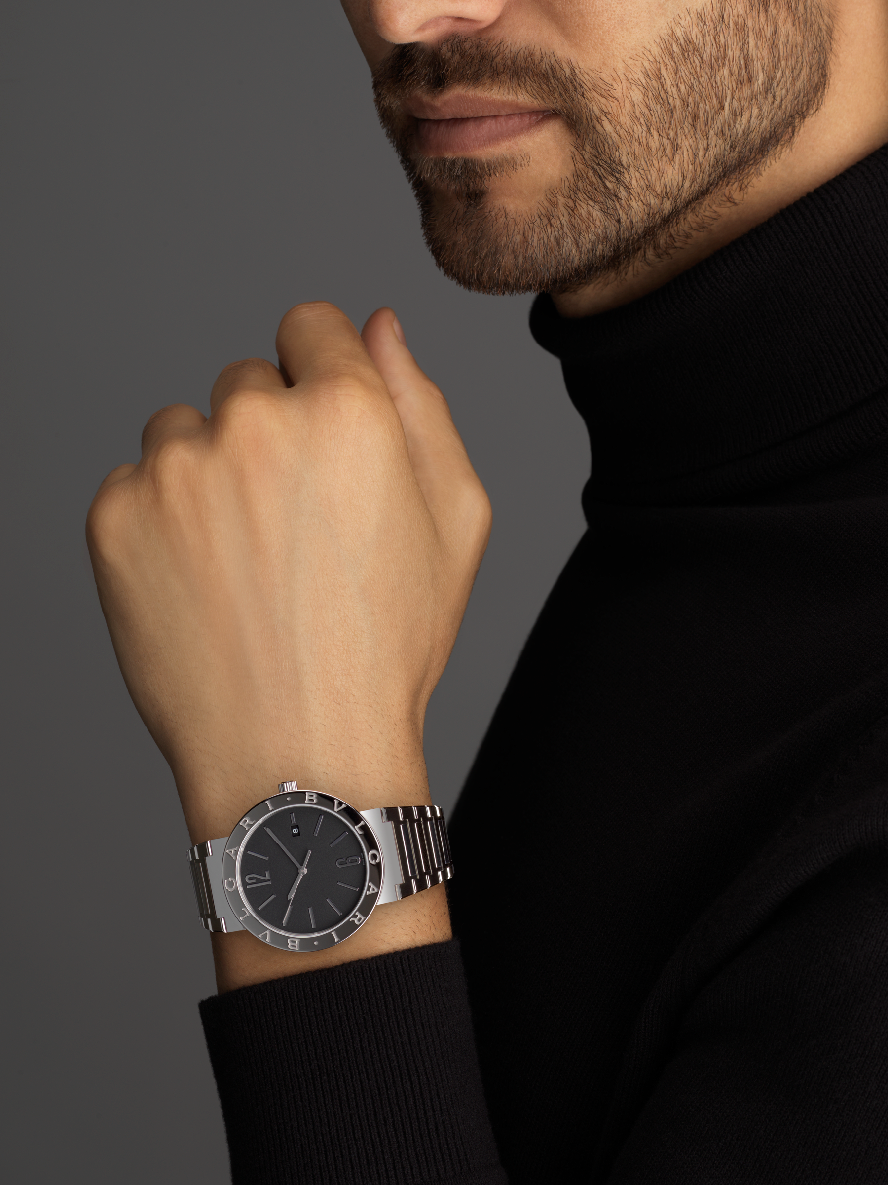 BVLGARI BVLGARI Solotempo watch with mechanical manufacture movement, automatic winding and date, stainless steel case and bracelet, stainless steel bezel engraved with double logo and black dial 102928 image 3