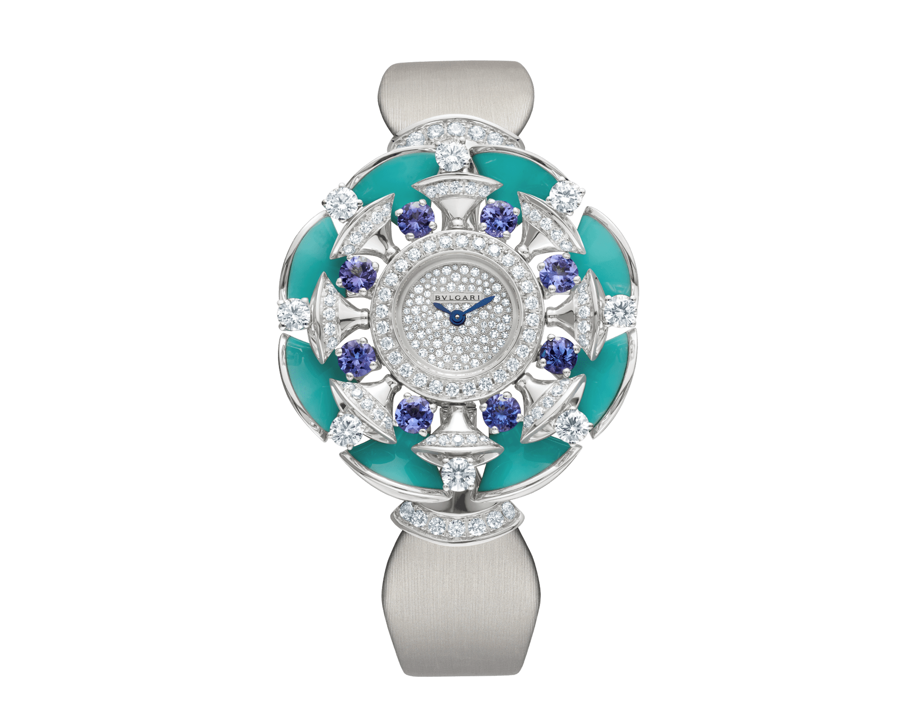 DIVAS' DREAM watch with 18 kt white gold case set with brilliant-cut diamonds, tanzanites and turquoises, snow pavé dial and grey satin bracelet 102421 image 1