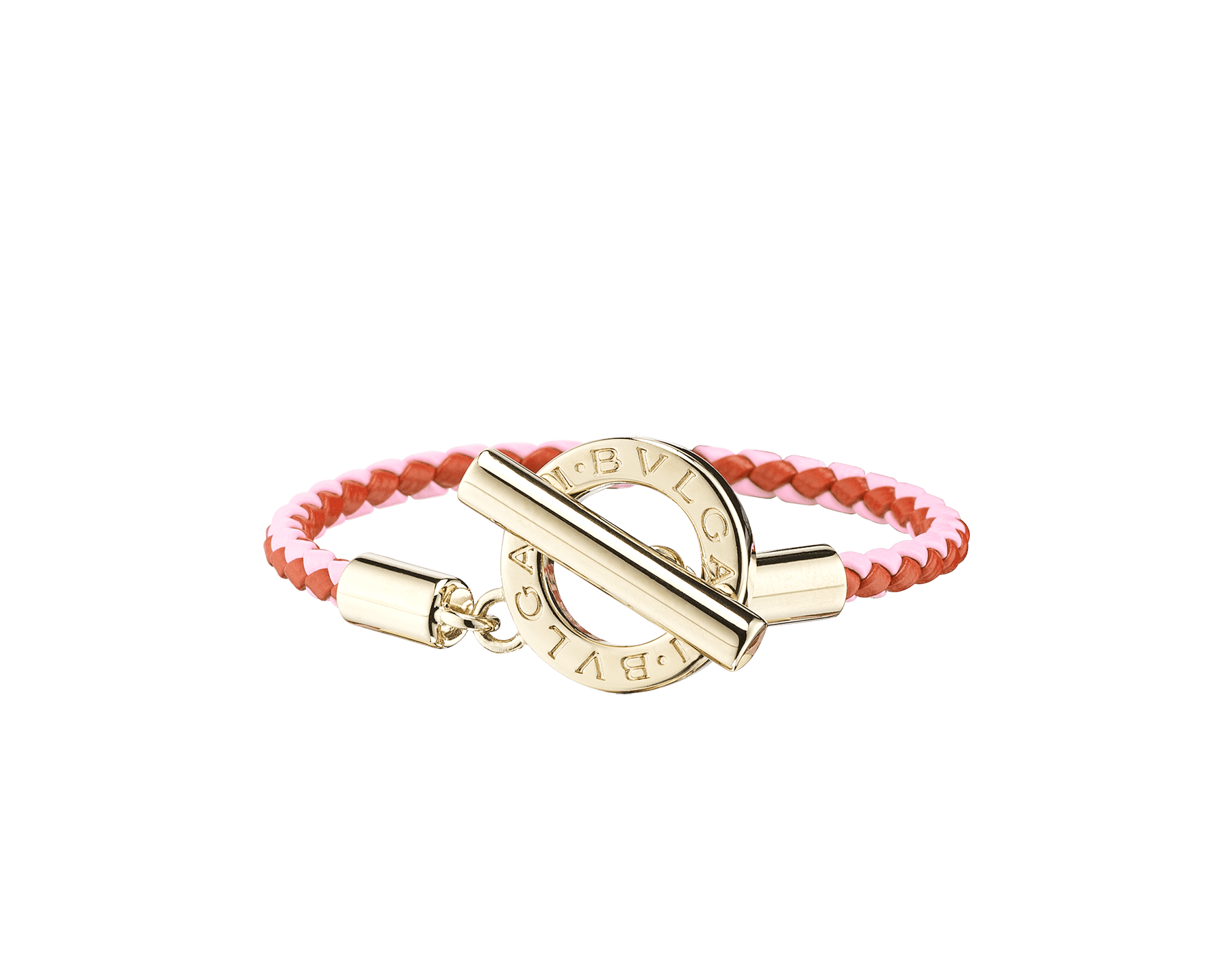 Bvlgari Bvlgari braid bracelet in silky coral and flash amethyst woven calf leather with an iconic iconic logo closure in light gold plated brass. 289299 image 1