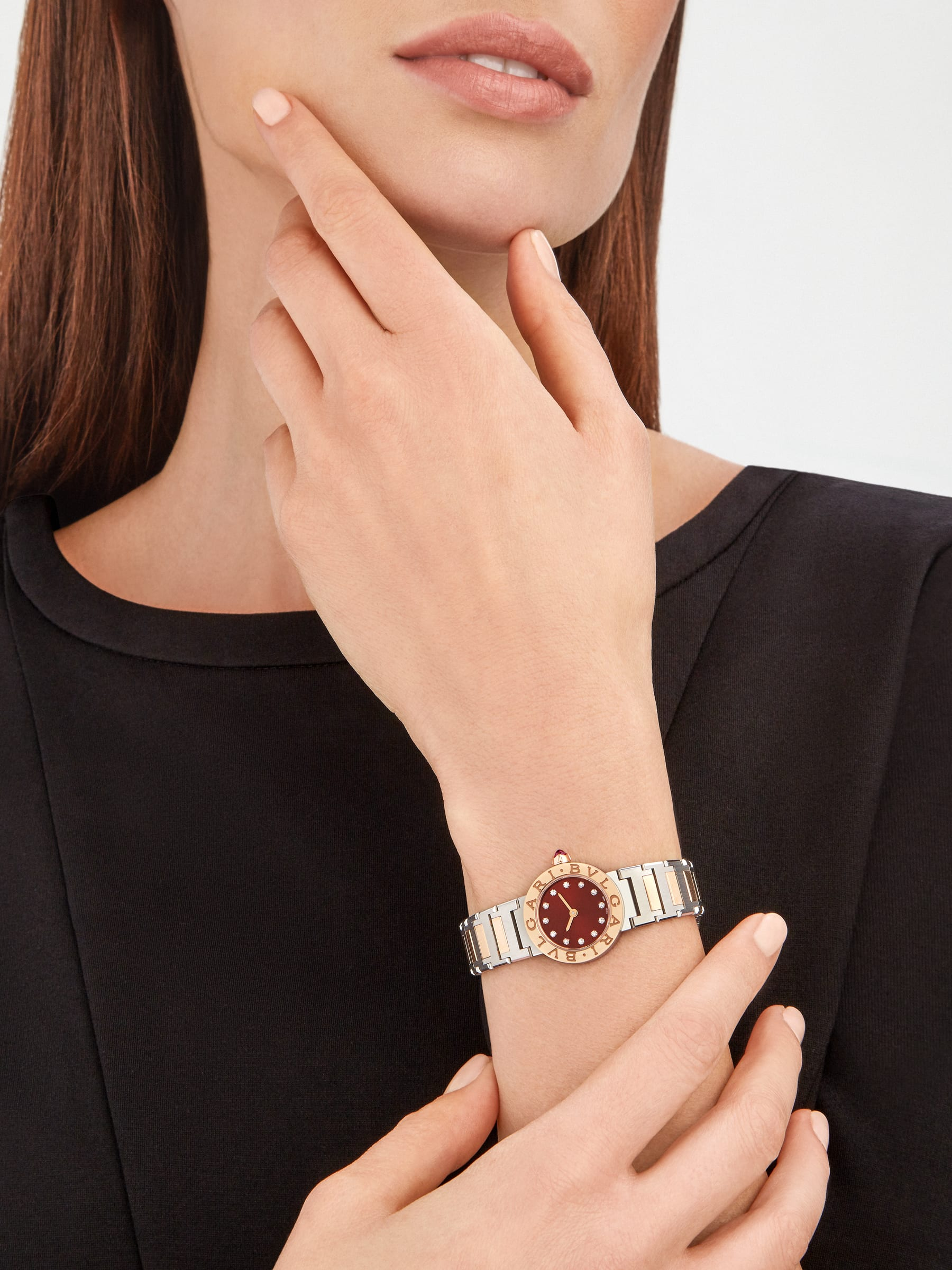 BVLGARI BVLGARI watch in 18 kt rose gold and stainless steel case and bracelet, 18 kt rose gold bezel engraved with double logo, brown satiné soleil lacquered dial and diamond indexes 103218 image 4