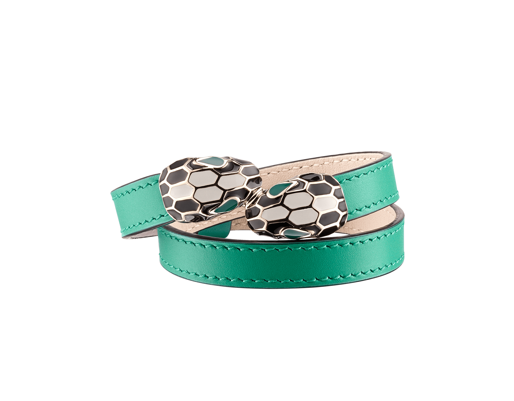 Multi-coiled bracelet in emerald green calf leather. Brass light gold plated iconic contraire Serpenti head closure in black and white enamel with malachite enamel eyes. Also available in other colours. MCSerp-CL-EG image 1