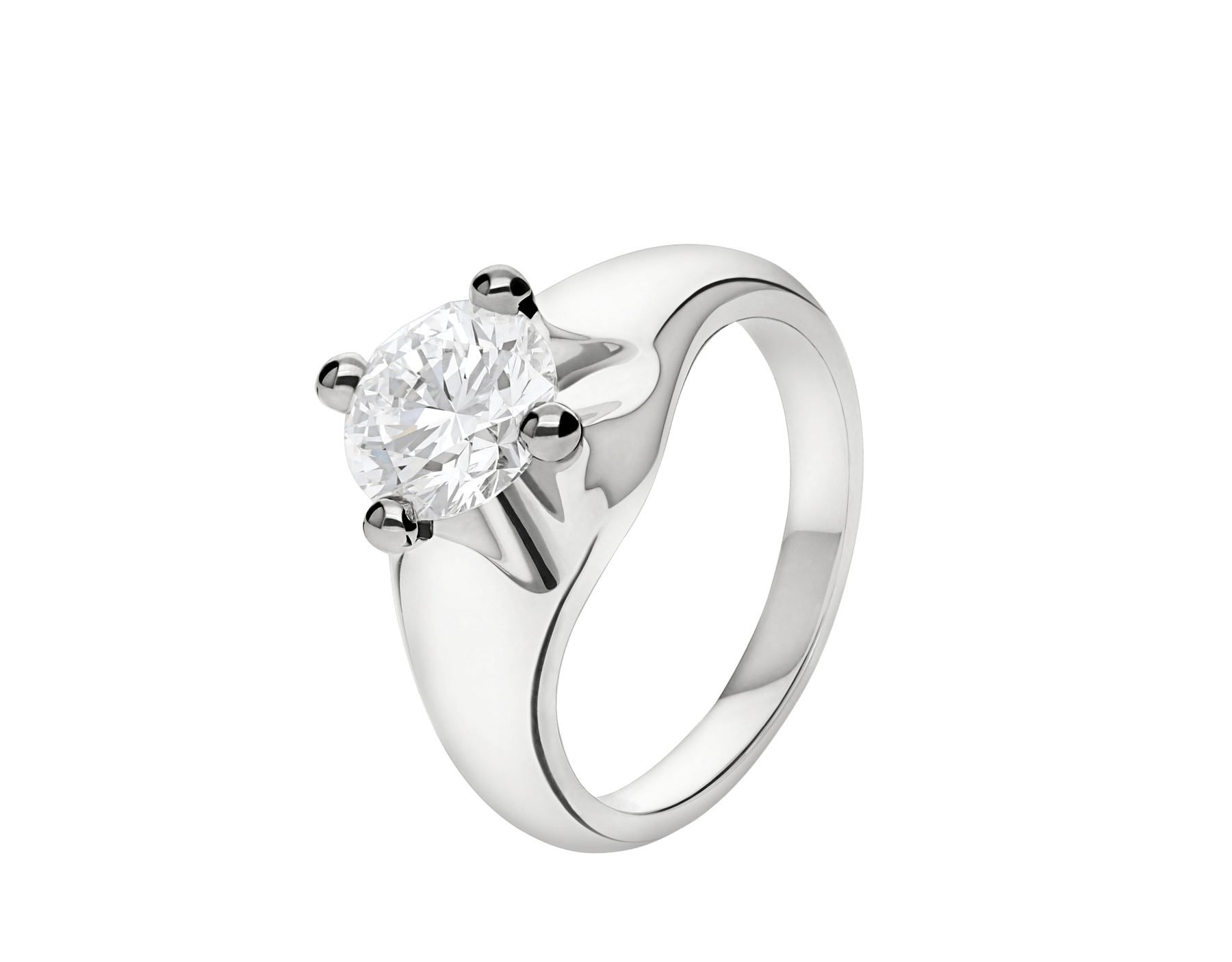 Corona platinum solitaire ring set with a round brilliant cut diamond 323743 image 1