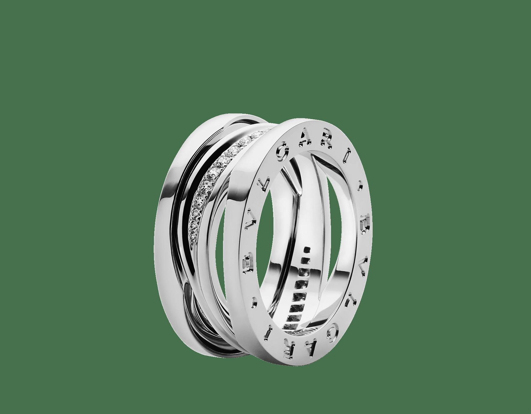 18Kホワイトゴールド製ビー・ゼロワン デザイン レジェンド リング。スパイラル上にパヴェダイヤモンドをあしらいました。 AN858378 image 1