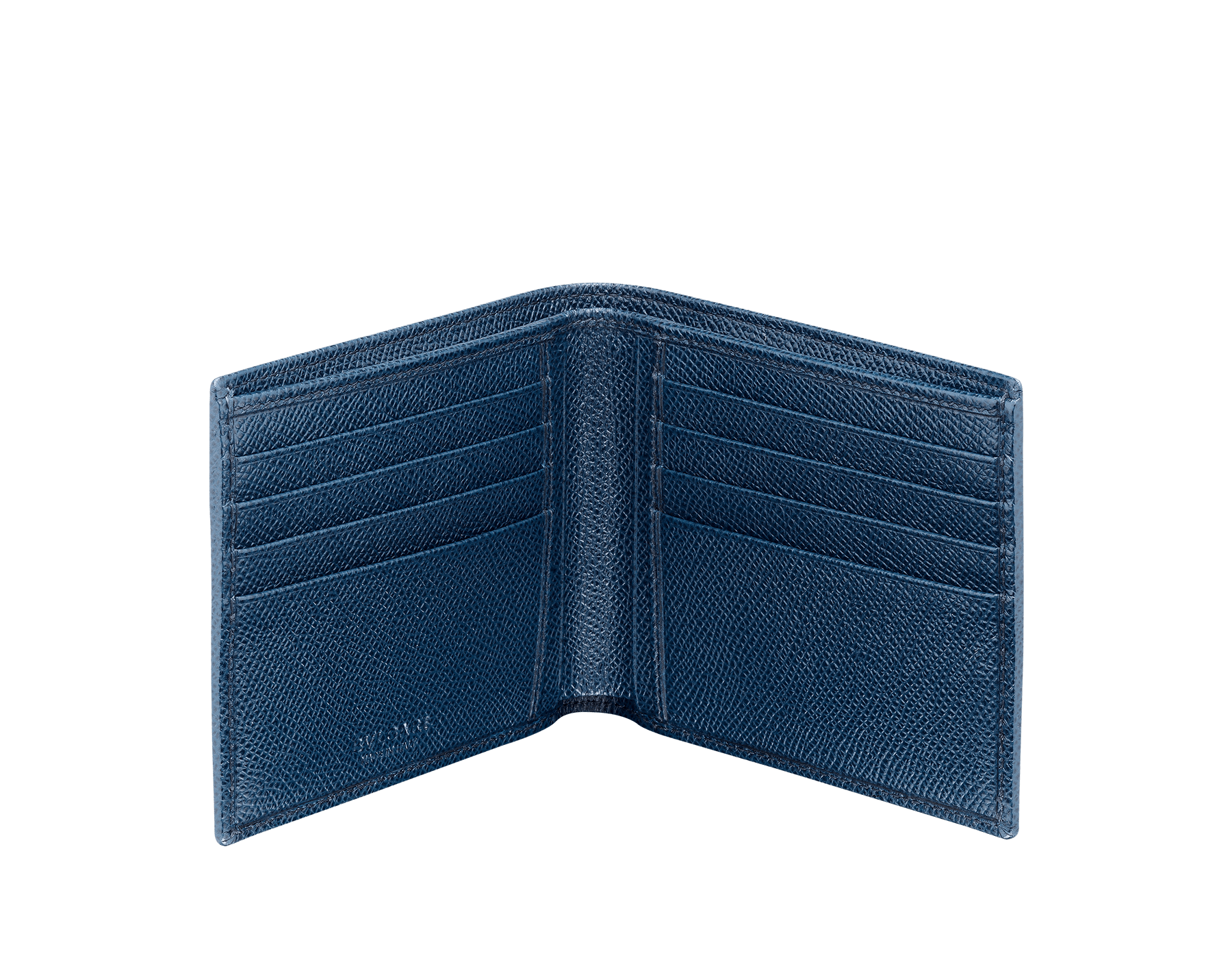 Wallet hipster for men in denim sapphire grain calf leather with brass palladium plated hardware featuring the BVLGARI BVLGARI motif. Eight credit card slots, two bill compartments and four inside compartments. 39320 image 2