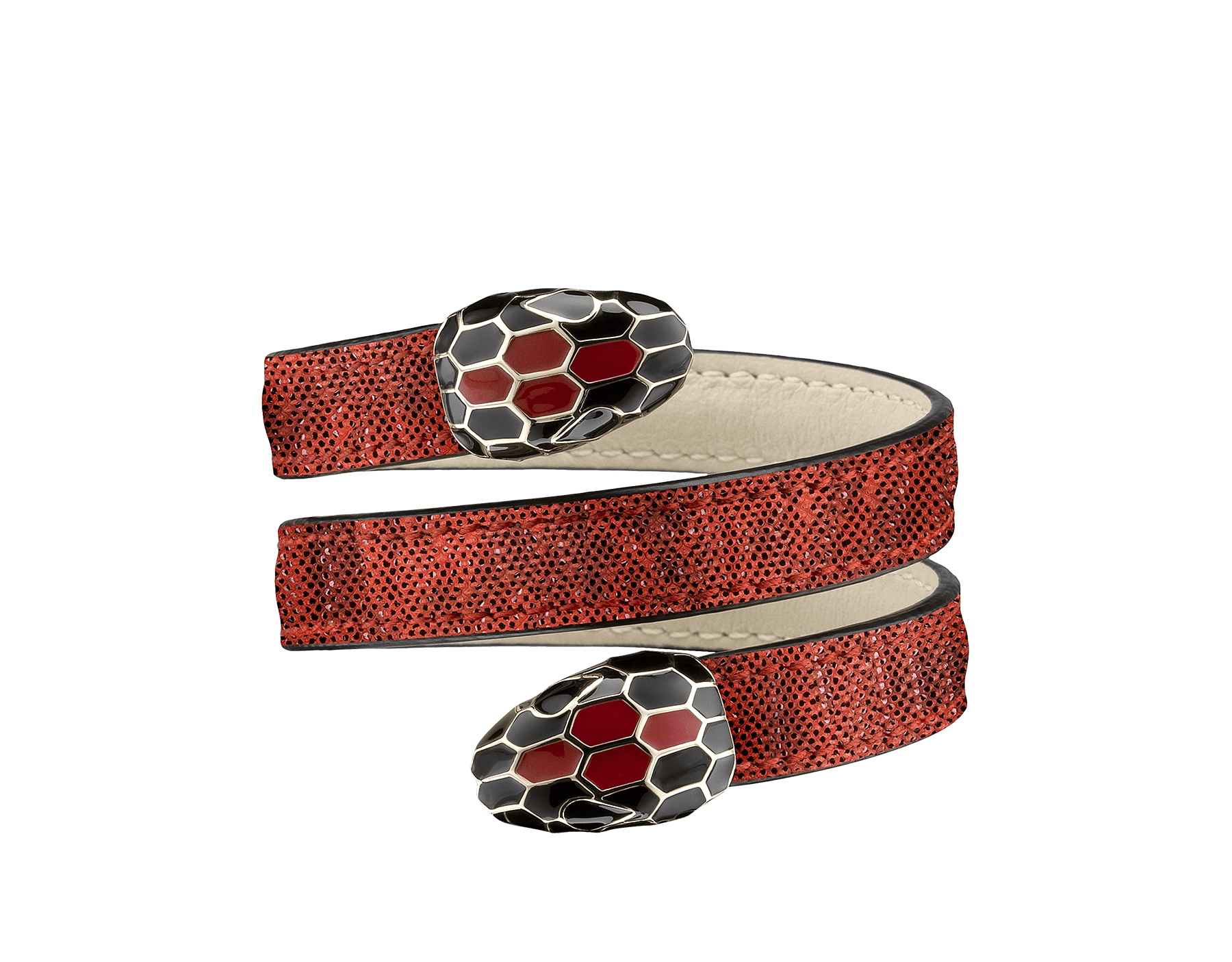 Serpenti Forever multi-coiled rigid Cleopatra bracelet in ruby red metallic karung skin, with brass light gold plated hardware. Iconic double snakehead décor in black and ruby red enamel, with black enamel eyes Cleopatra-MK-RR image 1
