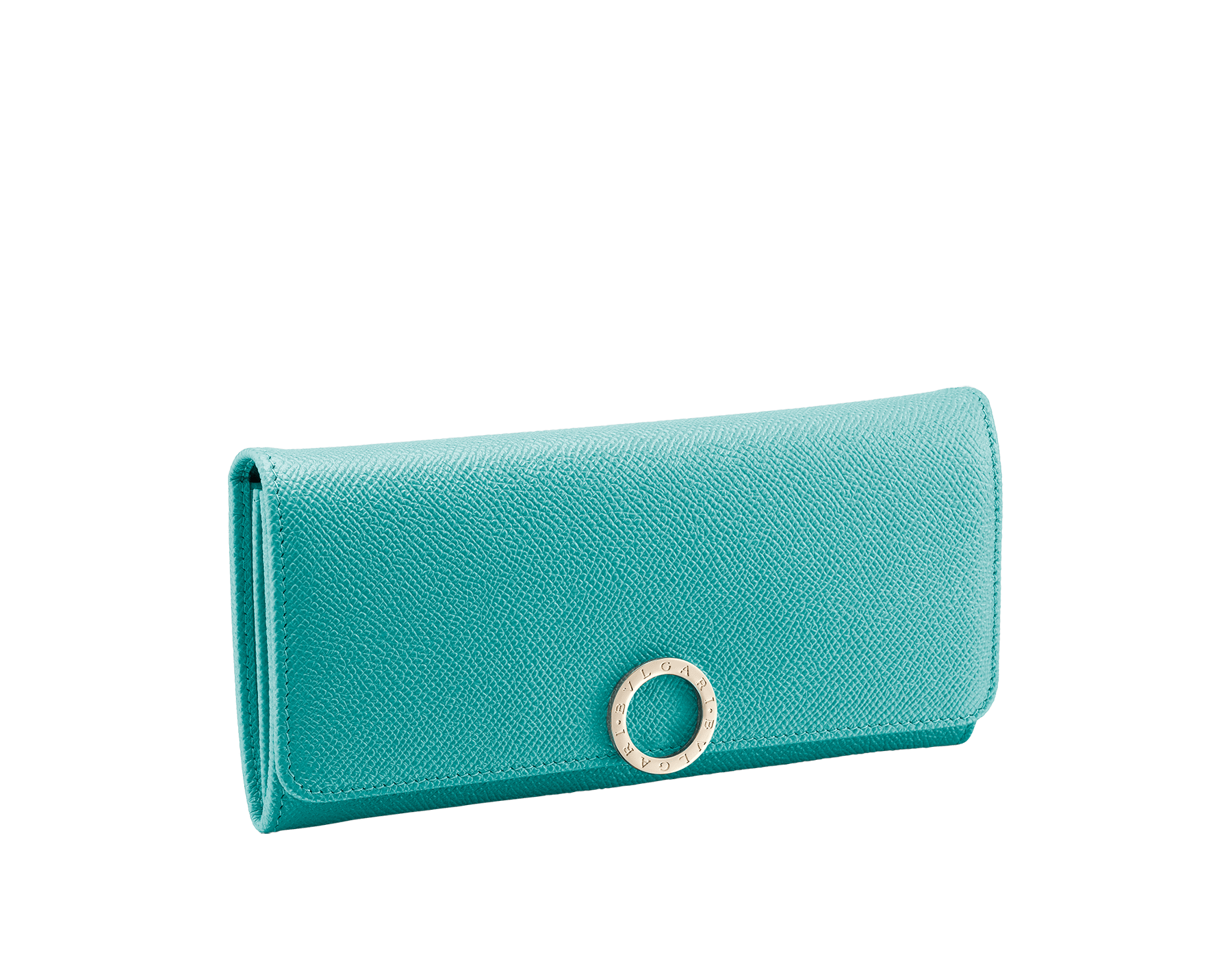 BVLGARI BVLGARI wallet pochette in arctic jade grain calf leather and grape amethyst nappa leather. Iconic logo closure clip in light gold plated brass. 289052 image 1
